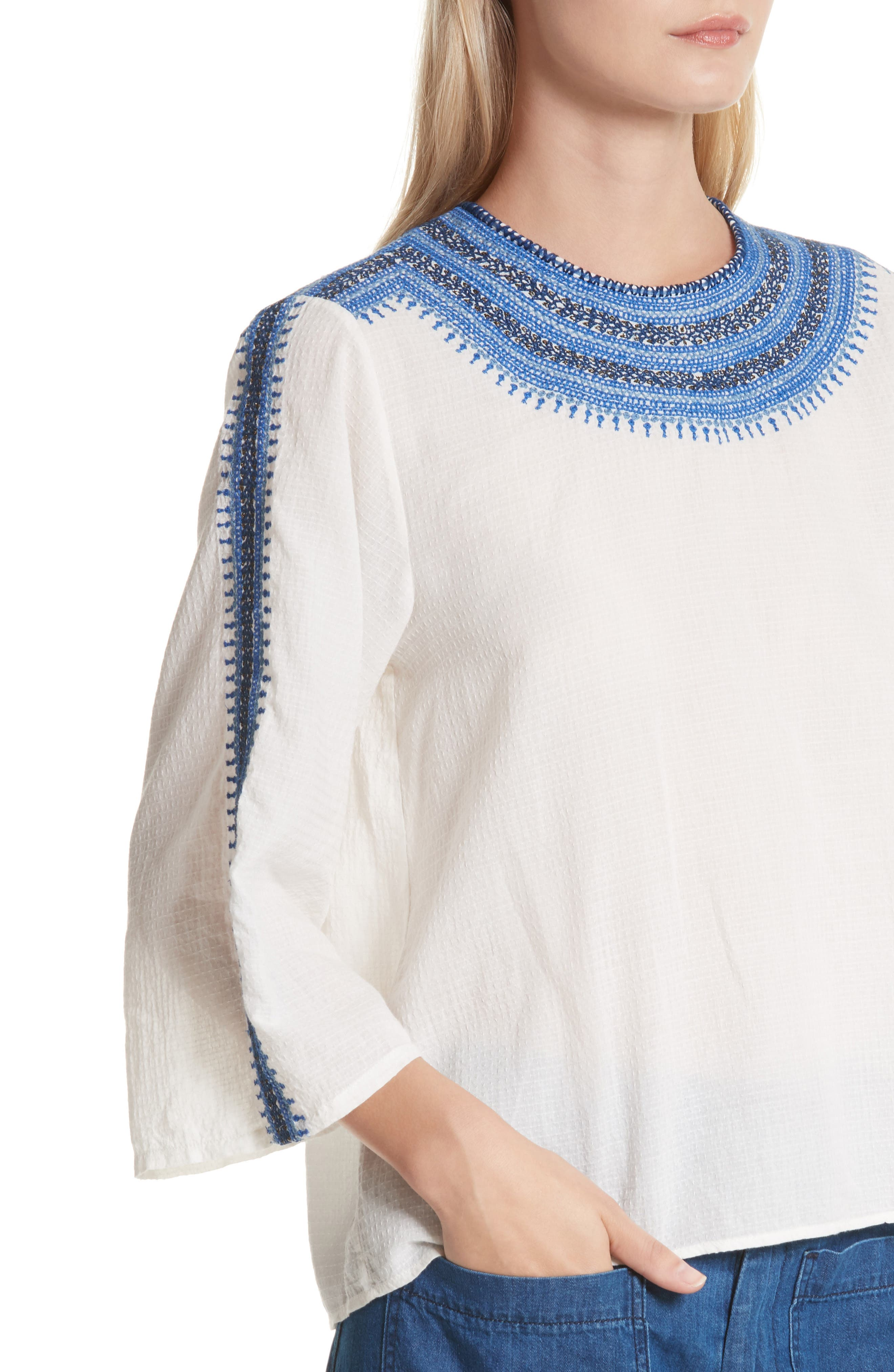 The Oasis Embroidered Top,                             Alternate thumbnail 4, color,