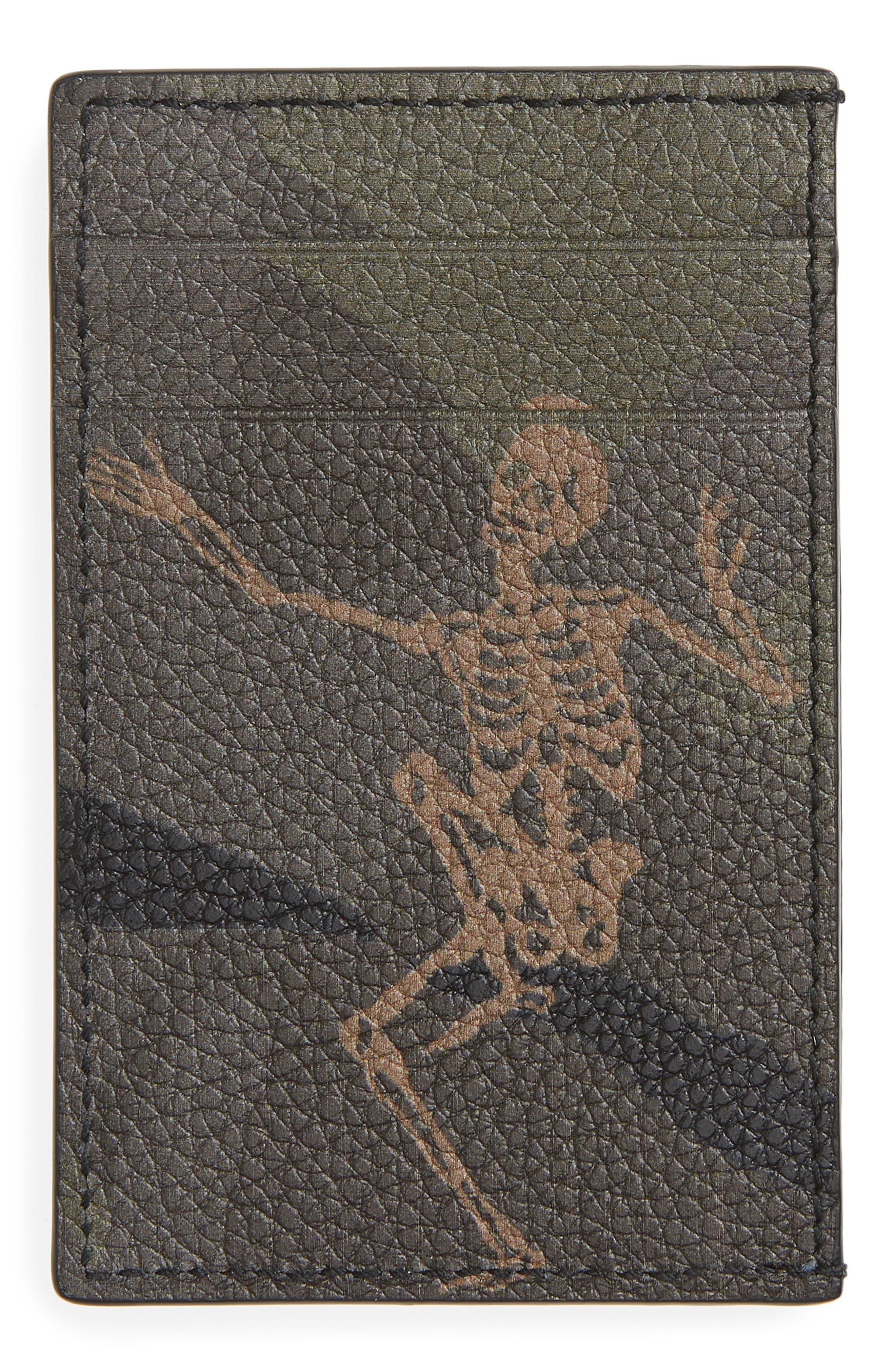 Dancing Skeleton Camo Calfskin Leather Card Case,                             Alternate thumbnail 2, color,                             288