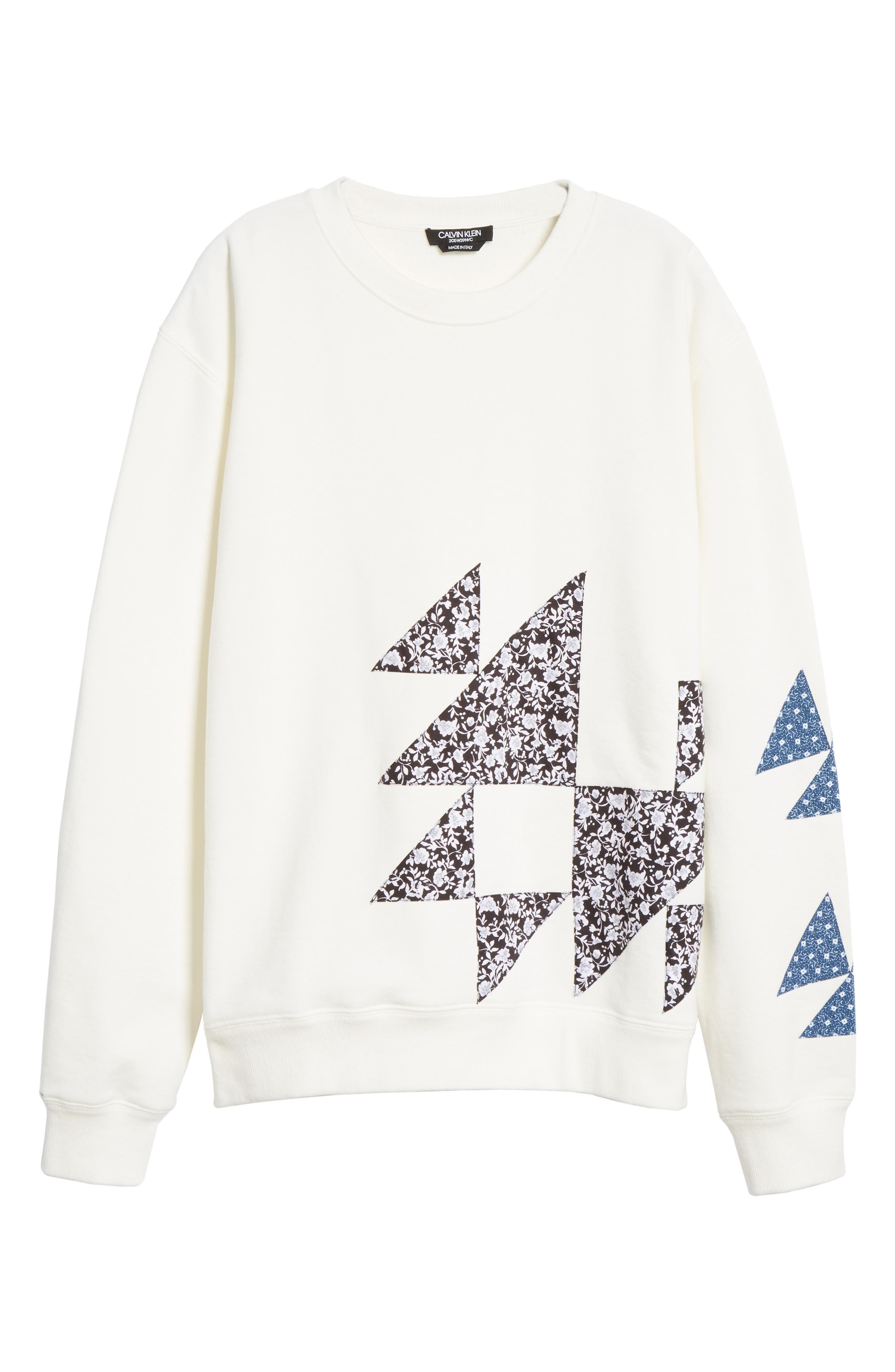 Oversize Patchwork Detail Sweatshirt,                             Alternate thumbnail 6, color,                             OFF WHITE