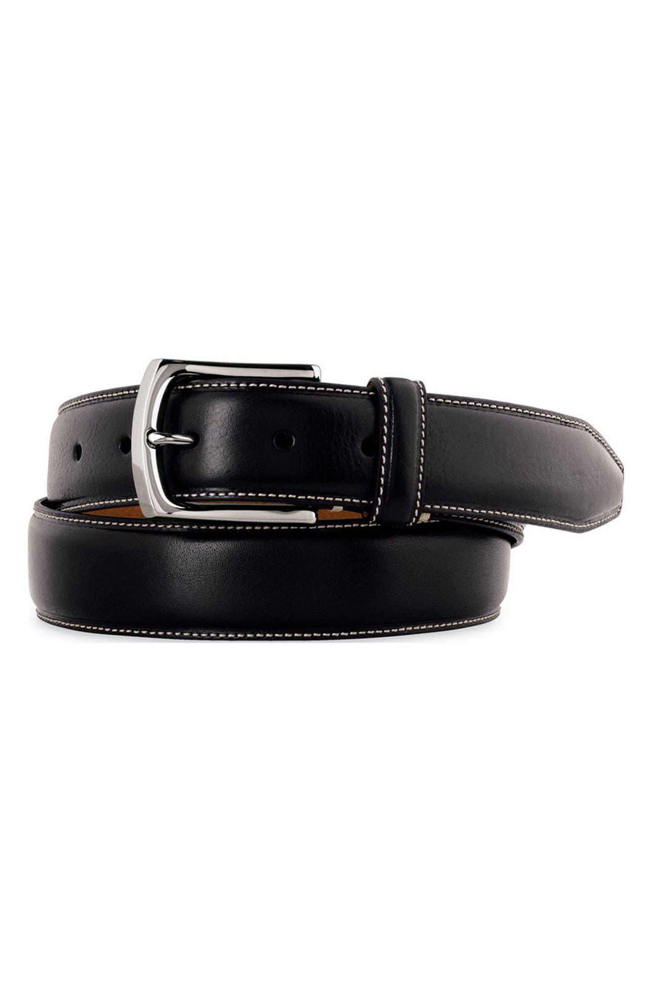 Calfskin Leather Belt,                             Main thumbnail 1, color,                             001