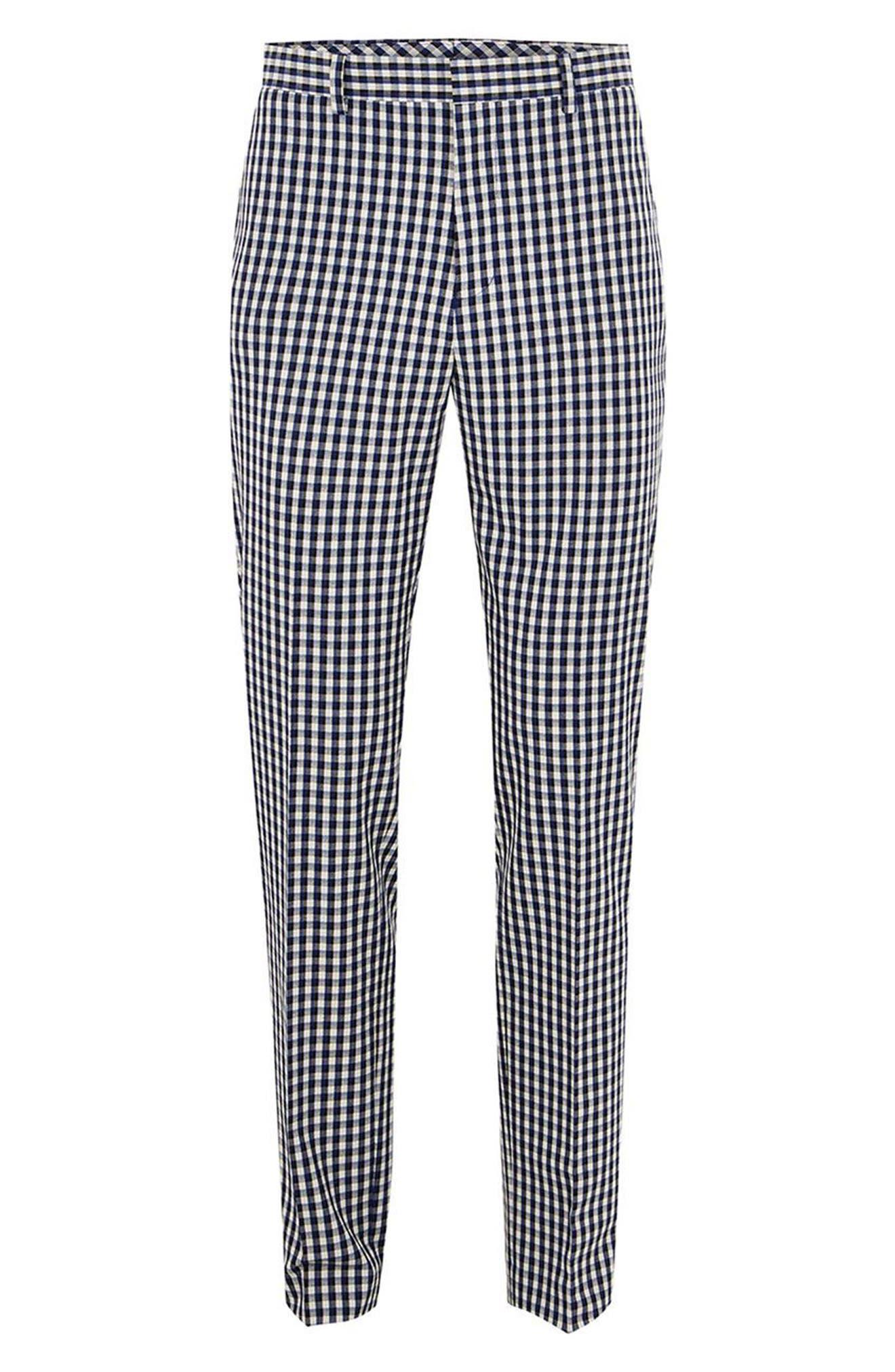 Muscle Fit Check Suit Trousers,                             Alternate thumbnail 3, color,                             400