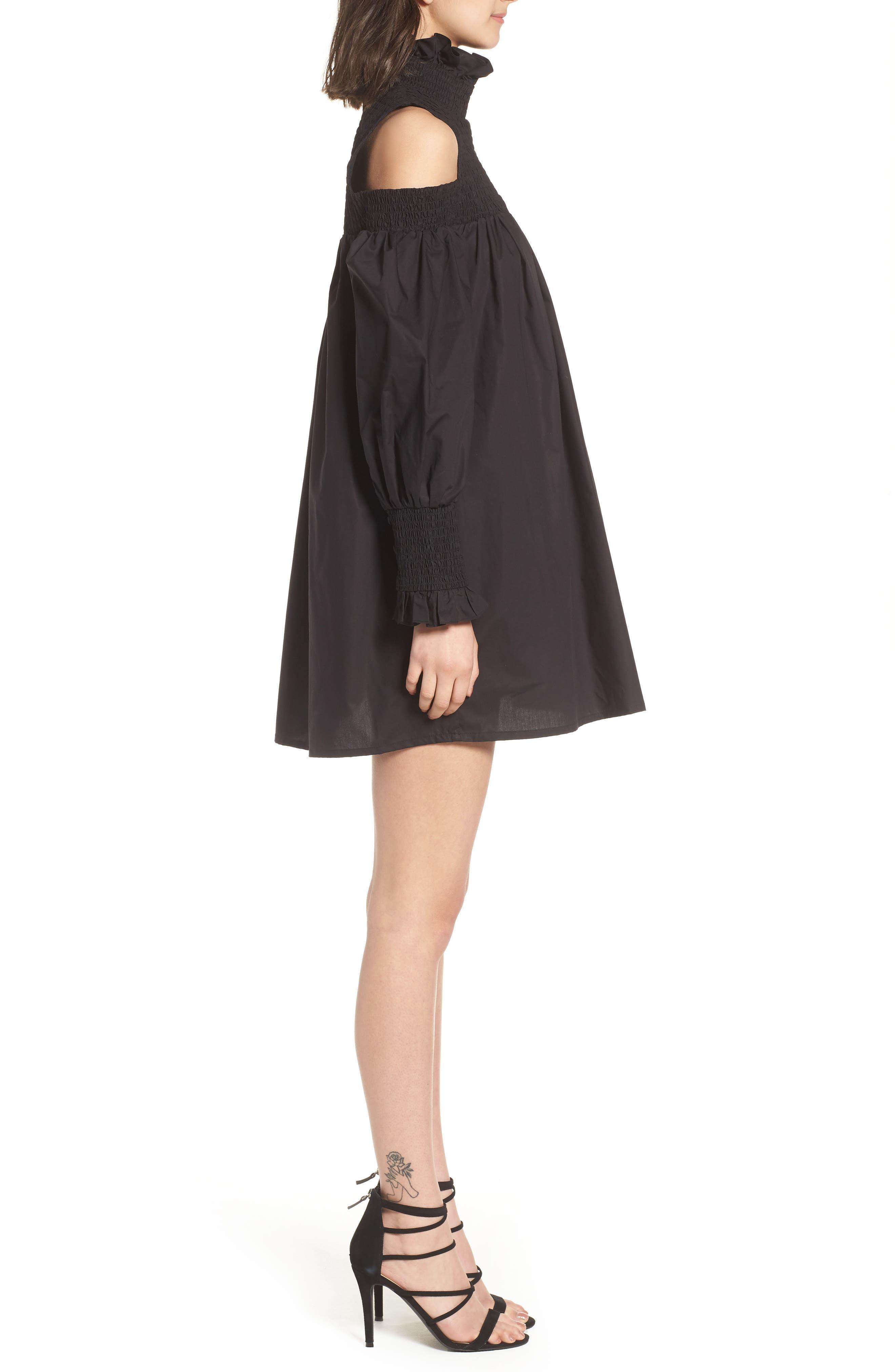 Ivy Cold Shoulder Dress,                             Alternate thumbnail 3, color,                             BLACK COTTON