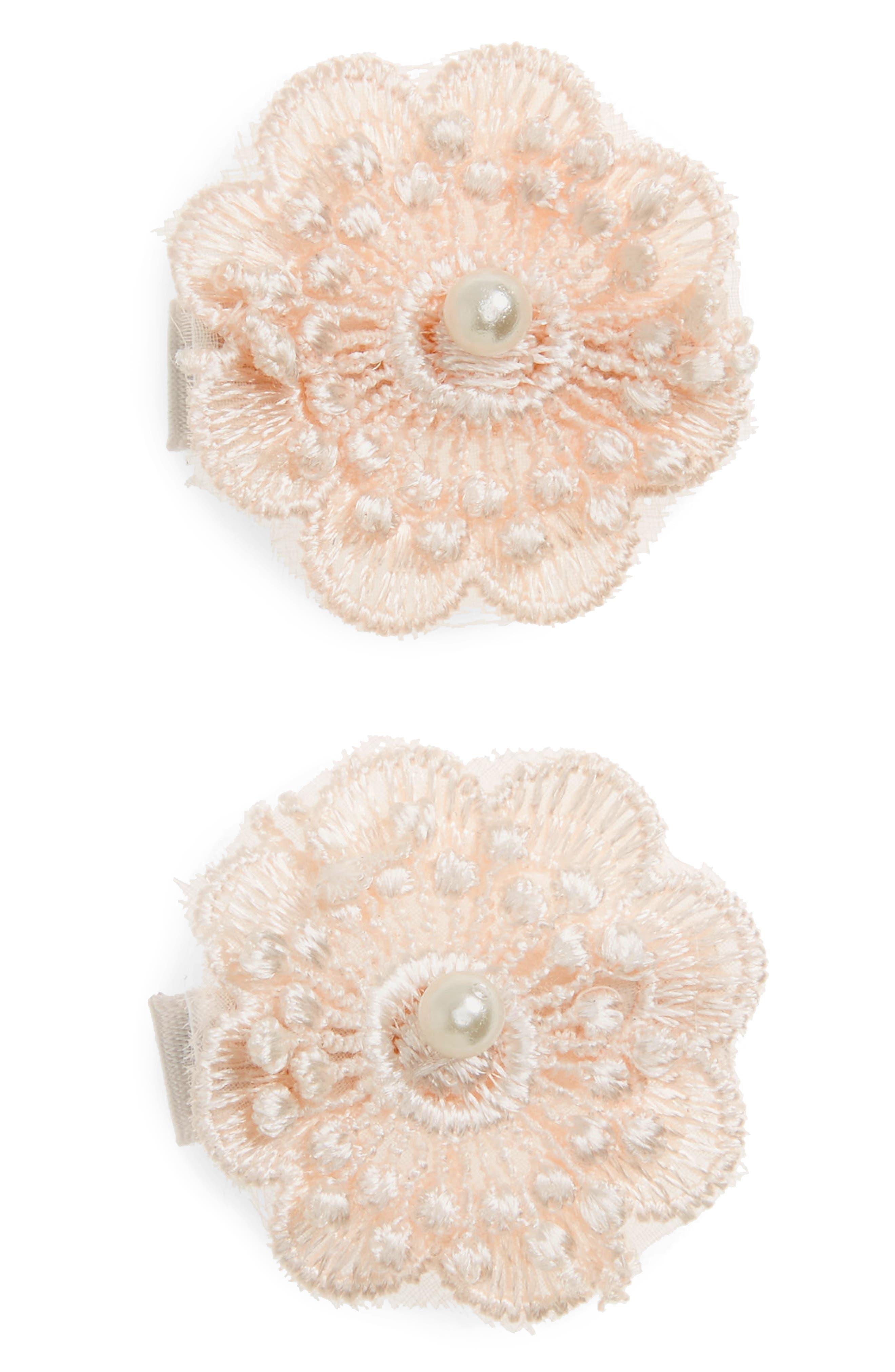 2-Pack Lace Flower Clips,                         Main,                         color, BLUSH