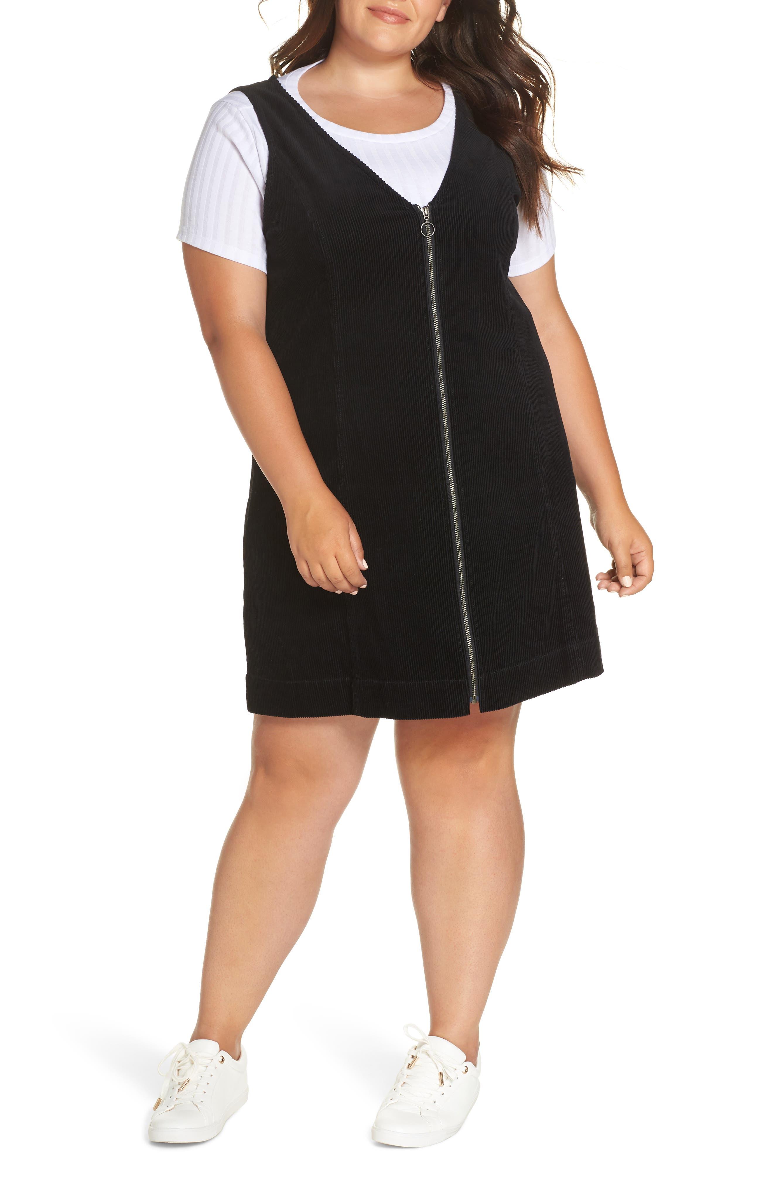 Corduroy Pinafore Dress,                             Alternate thumbnail 4, color,                             BLACK