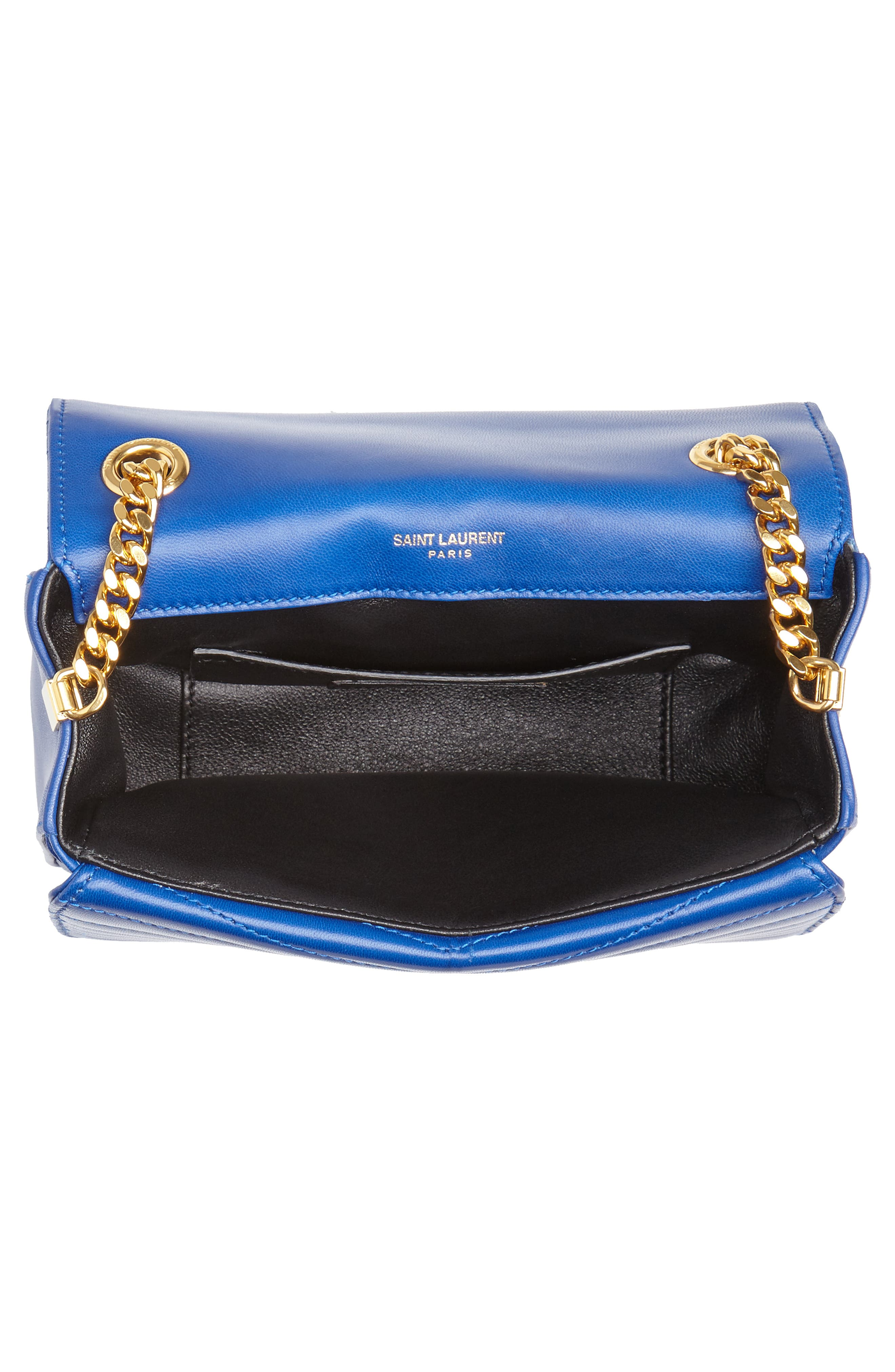 Montaigne Quilted Lambskin Crossbody Bag,                             Alternate thumbnail 4, color,                             BRIGHT BLUE