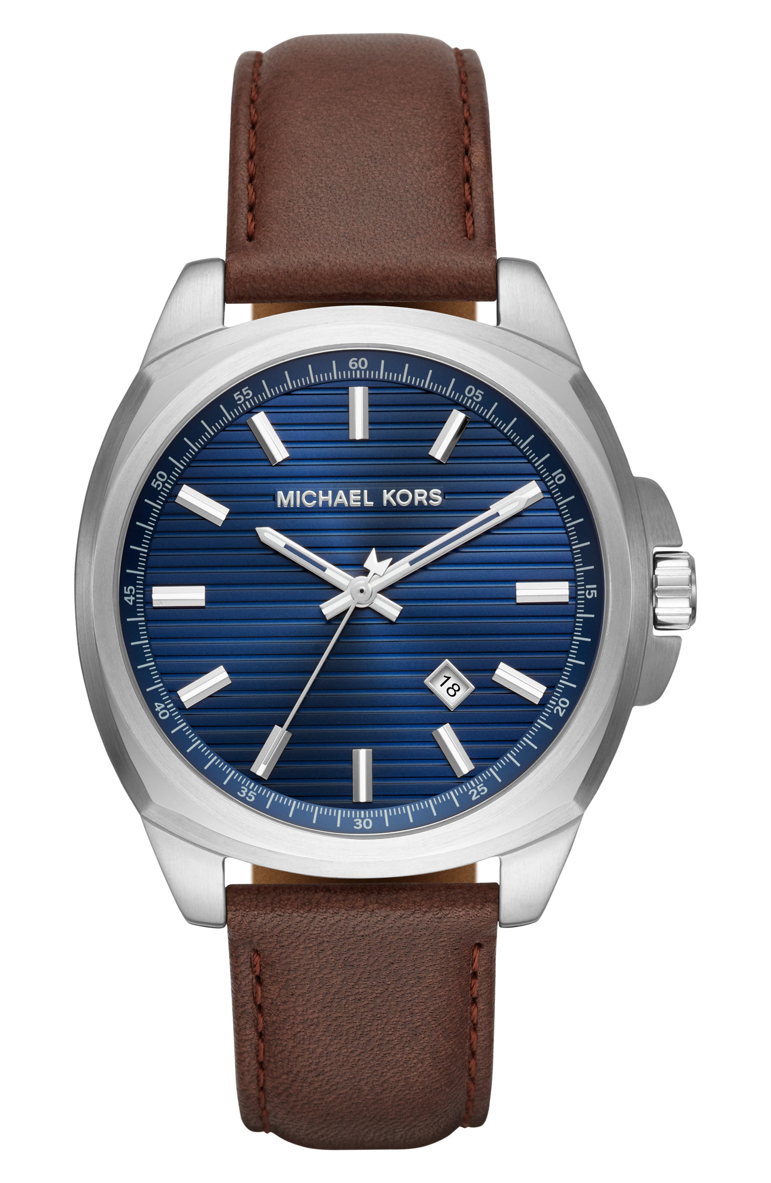 Bryson Leather Strap Watch, 42mm,                             Main thumbnail 1, color,                             BROWN/ BLUE SUNRAY/ SILVER