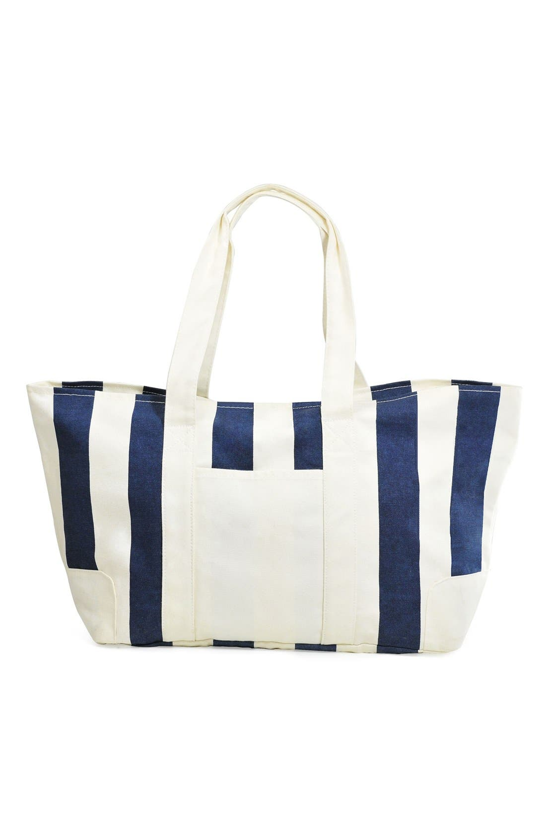 Monogram Stripe Canvas Tote,                             Main thumbnail 1, color,                             410