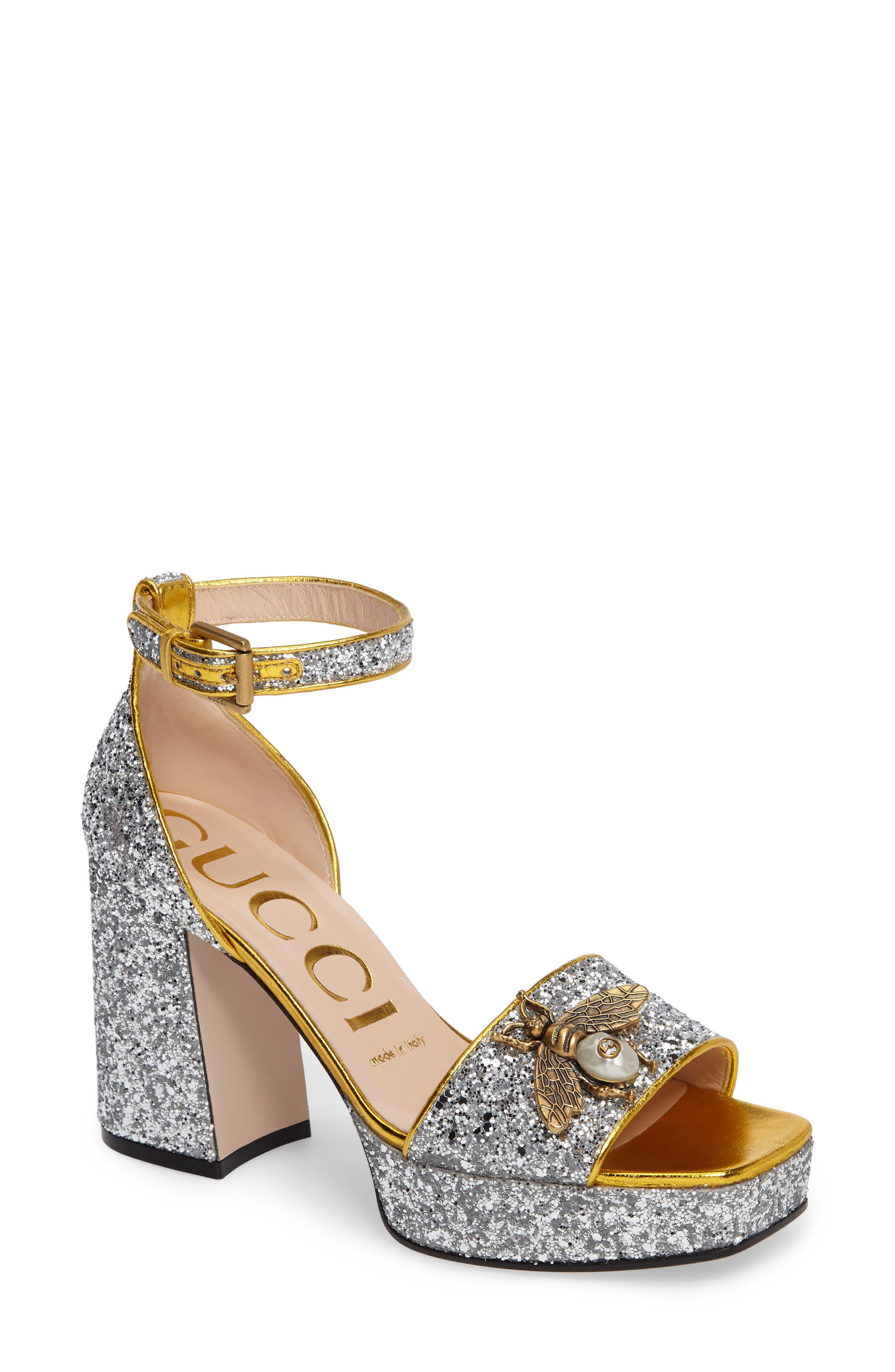 GUCCI,                             Soko Glitter Bee Sandal,                             Main thumbnail 1, color,                             040