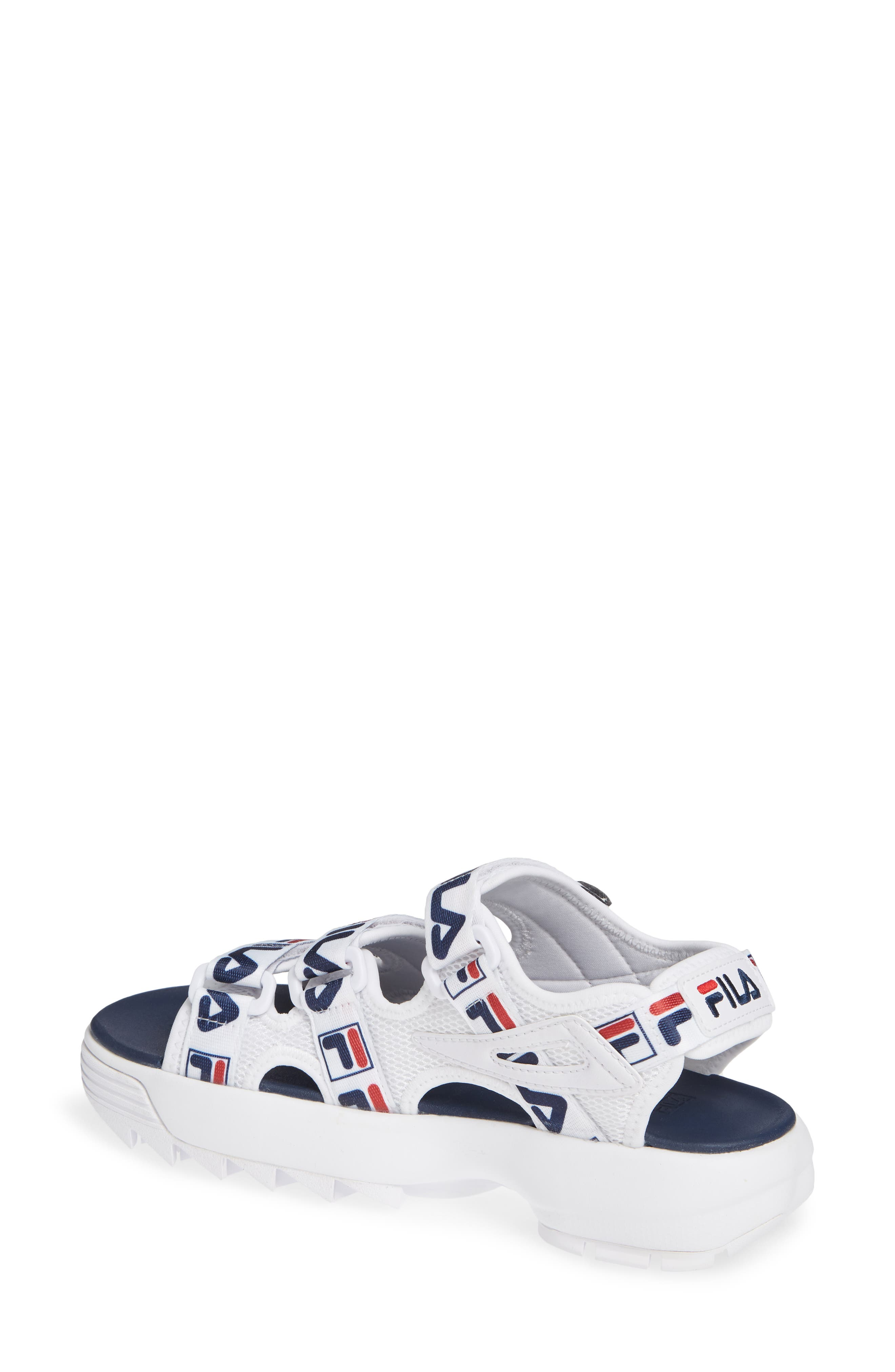 Disruptor Sandal,                             Alternate thumbnail 2, color,                             WHITE/ FILA NAVY