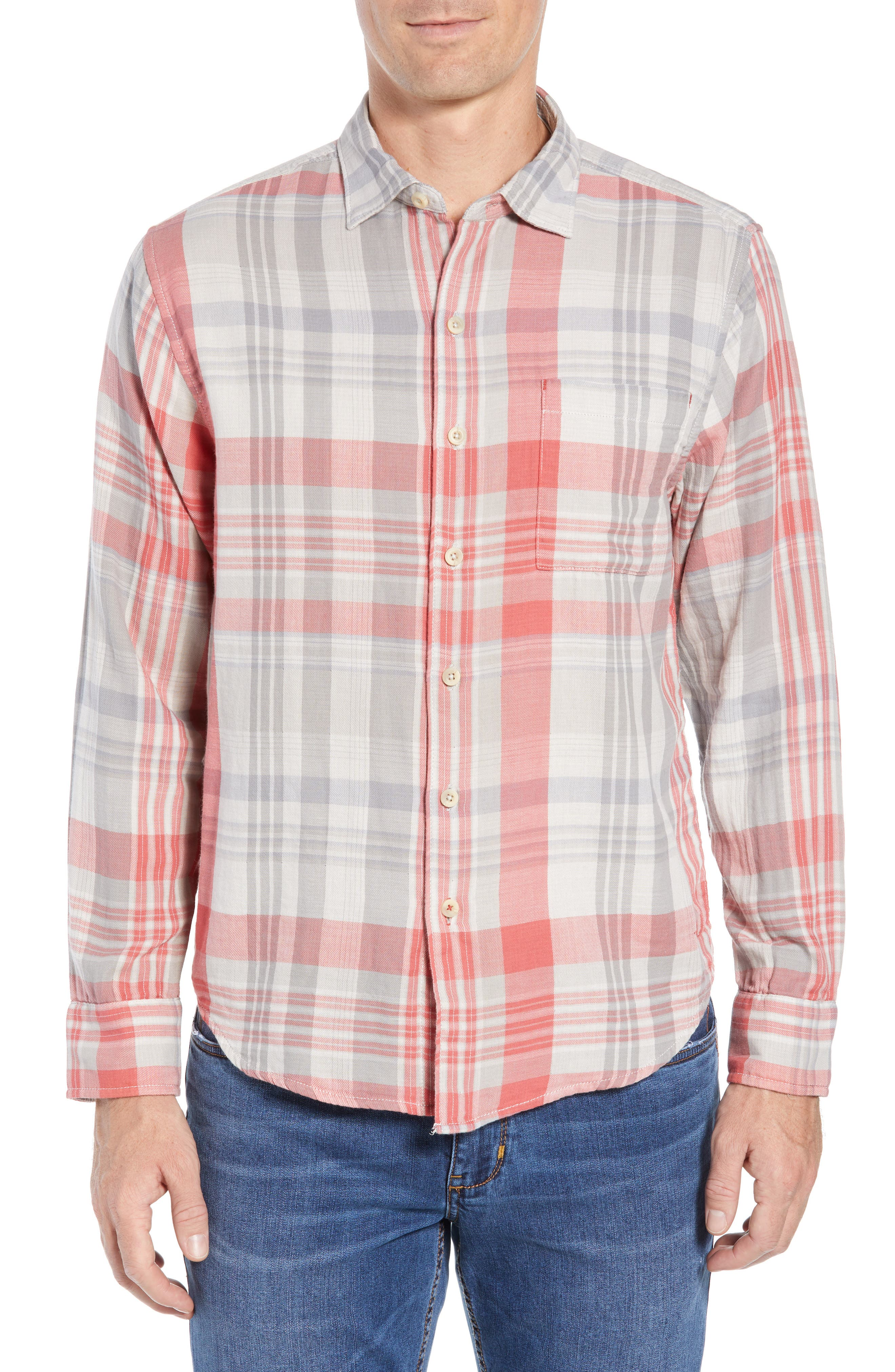 Monteverde Madras Regular Fit Shirt,                         Main,                         color, POINCIANA