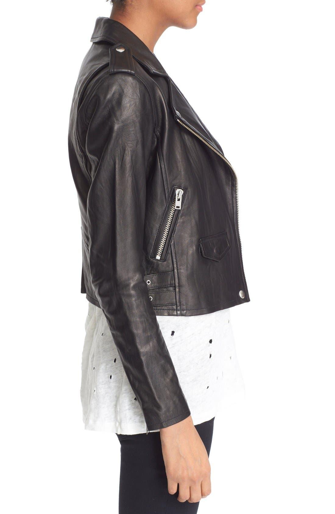 'Ashville' Leather Jacket,                             Alternate thumbnail 3, color,                             BLACK