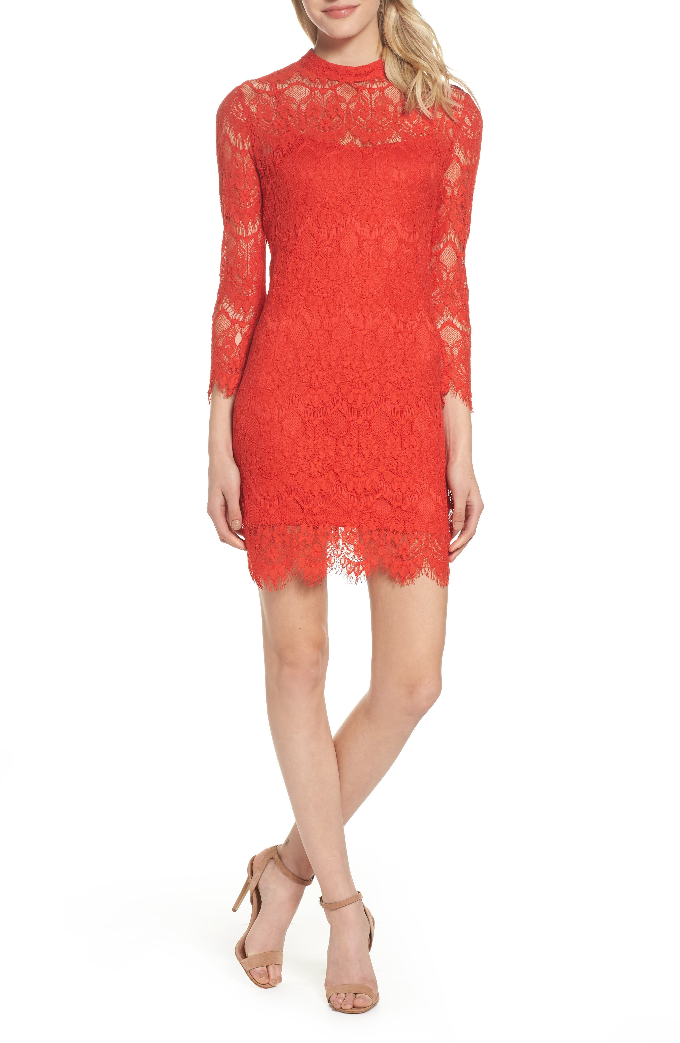 Lace Sheath Dress,                         Main,                         color, 640