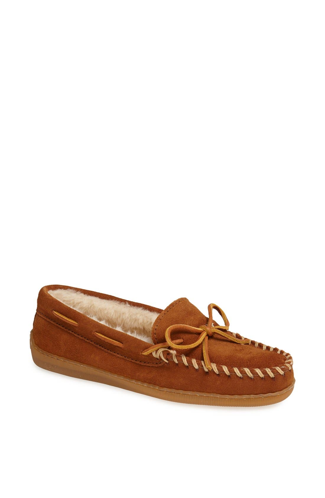 Moccasin Slipper,                         Main,                         color, BROWN