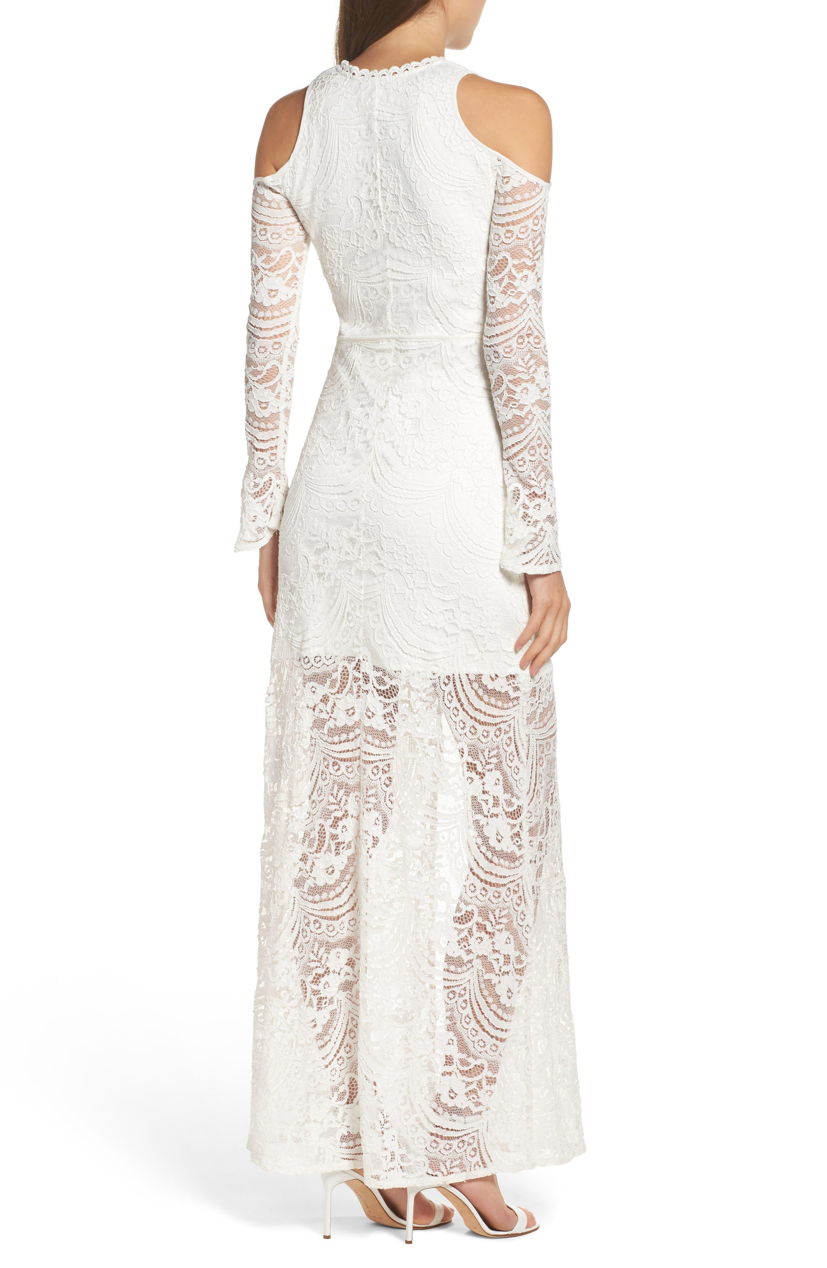 Lace-Up Cold Shoulder Gown,                             Alternate thumbnail 2, color,                             100