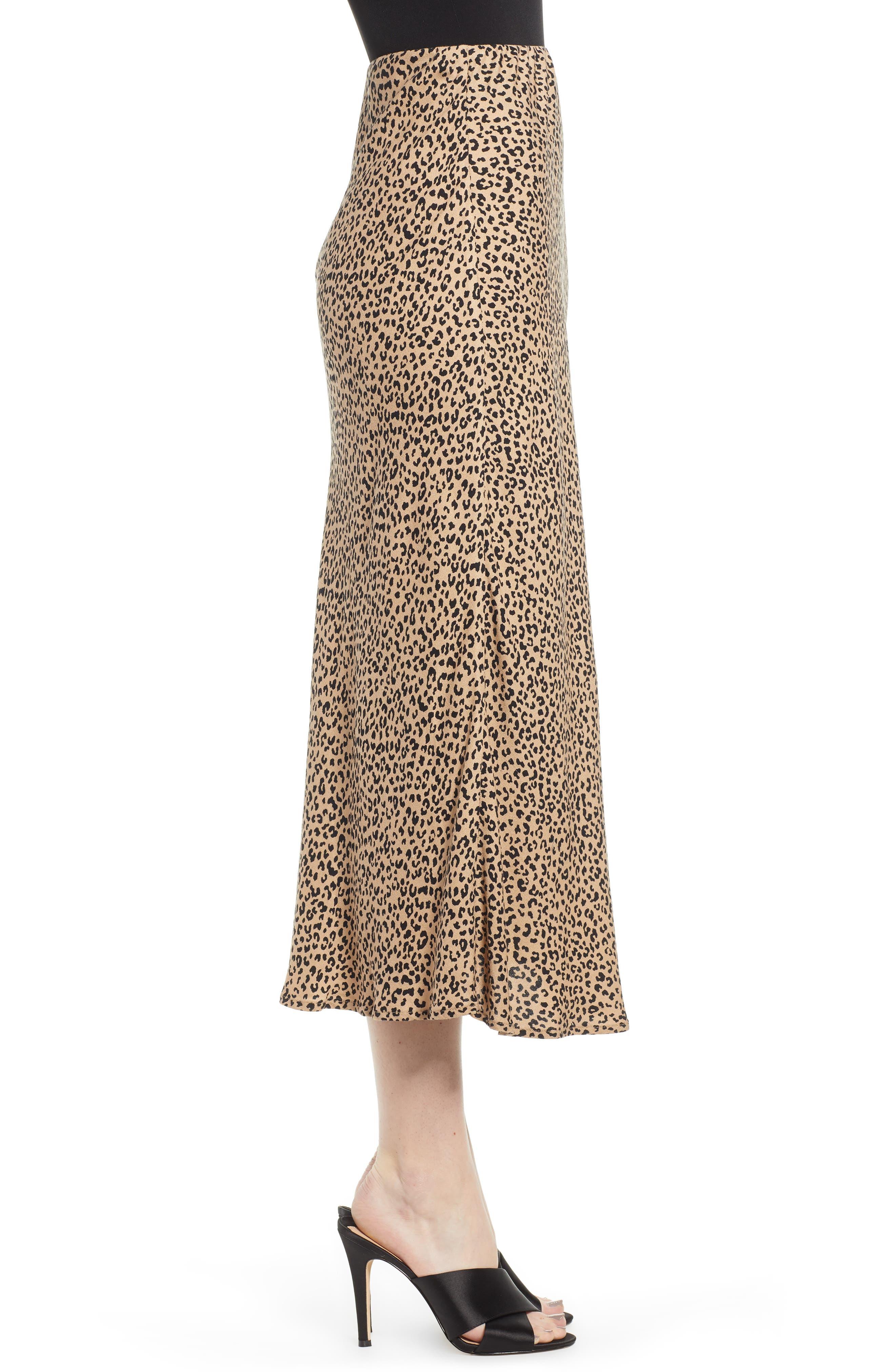 LOVE, FIRE,                             Leopard Midi Skirt,                             Alternate thumbnail 3, color,                             LEOPARD
