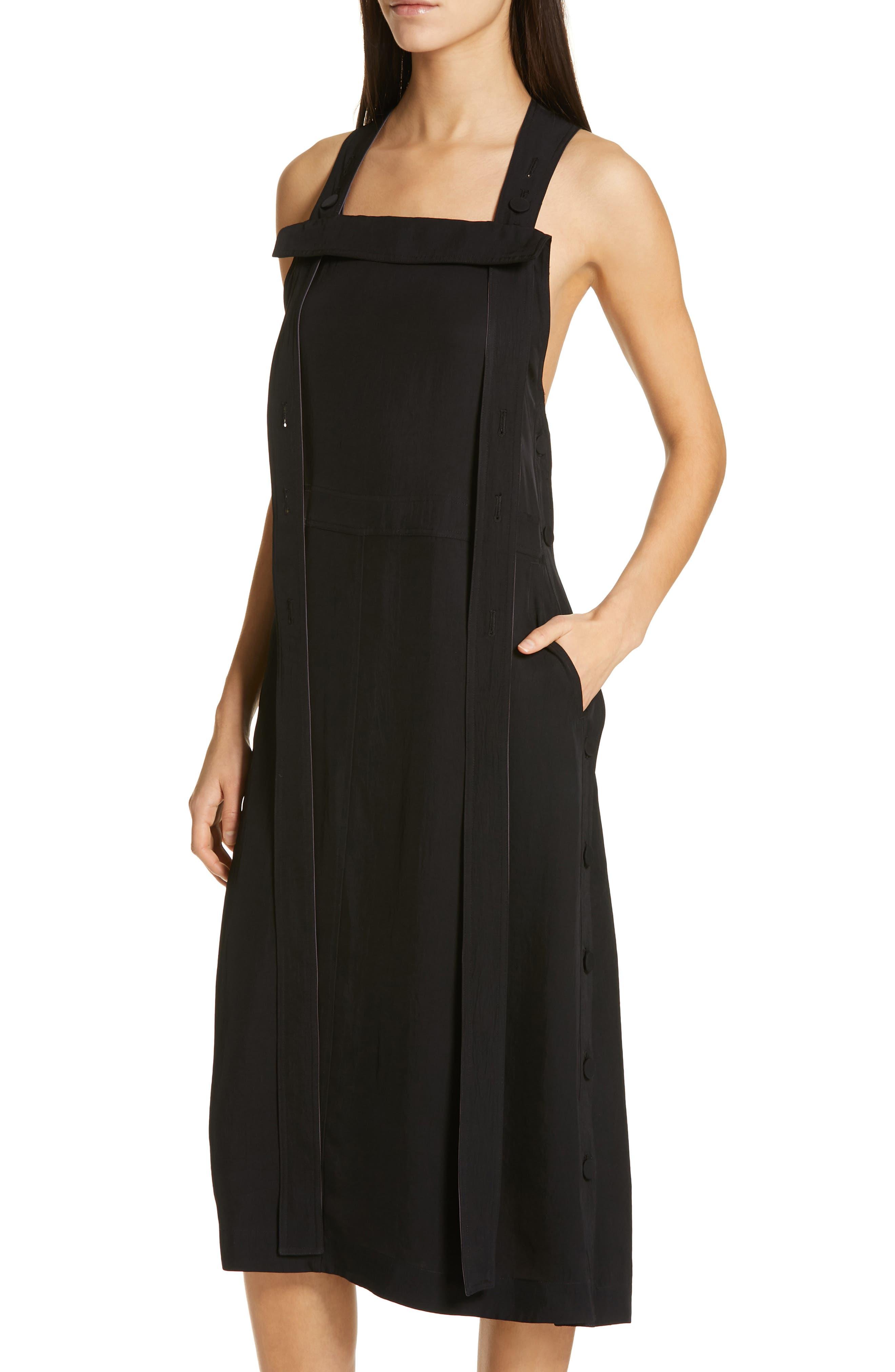 Adrian Pinafore Dress,                             Alternate thumbnail 4, color,                             BLACK