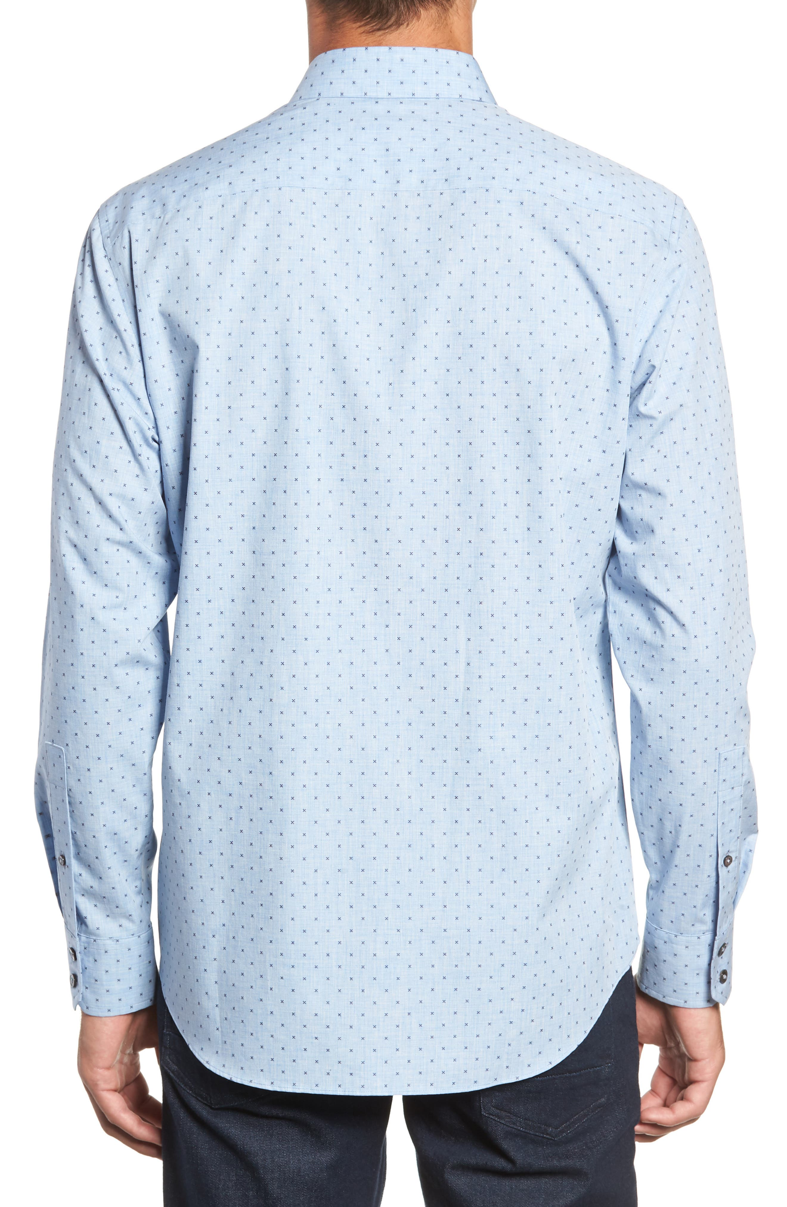 Zhang Regular Fit Sport Shirt,                             Alternate thumbnail 3, color,                             LIGHT BLUE