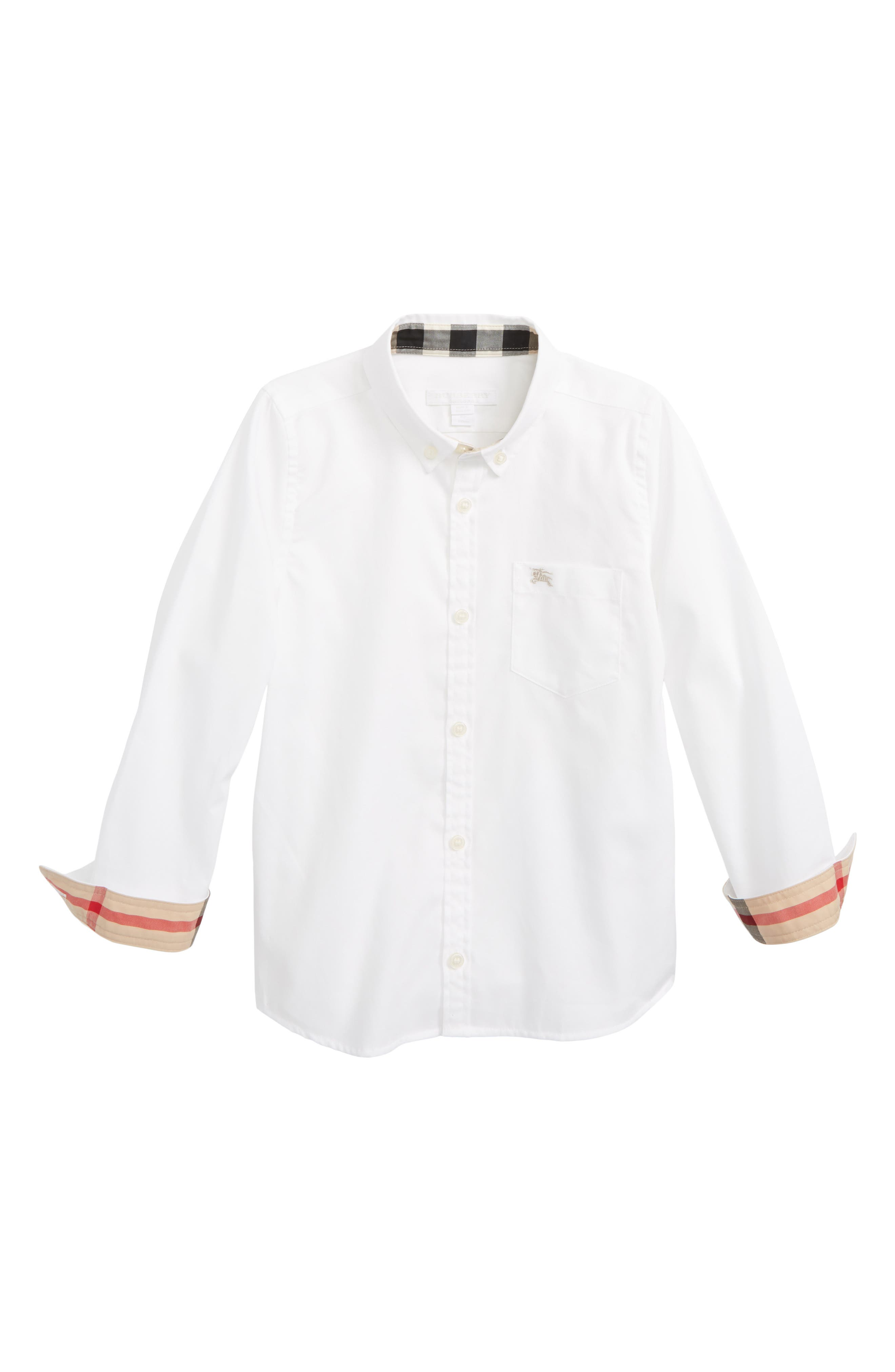 BURBERRY,                             Fred Woven Shirt,                             Main thumbnail 1, color,                             100