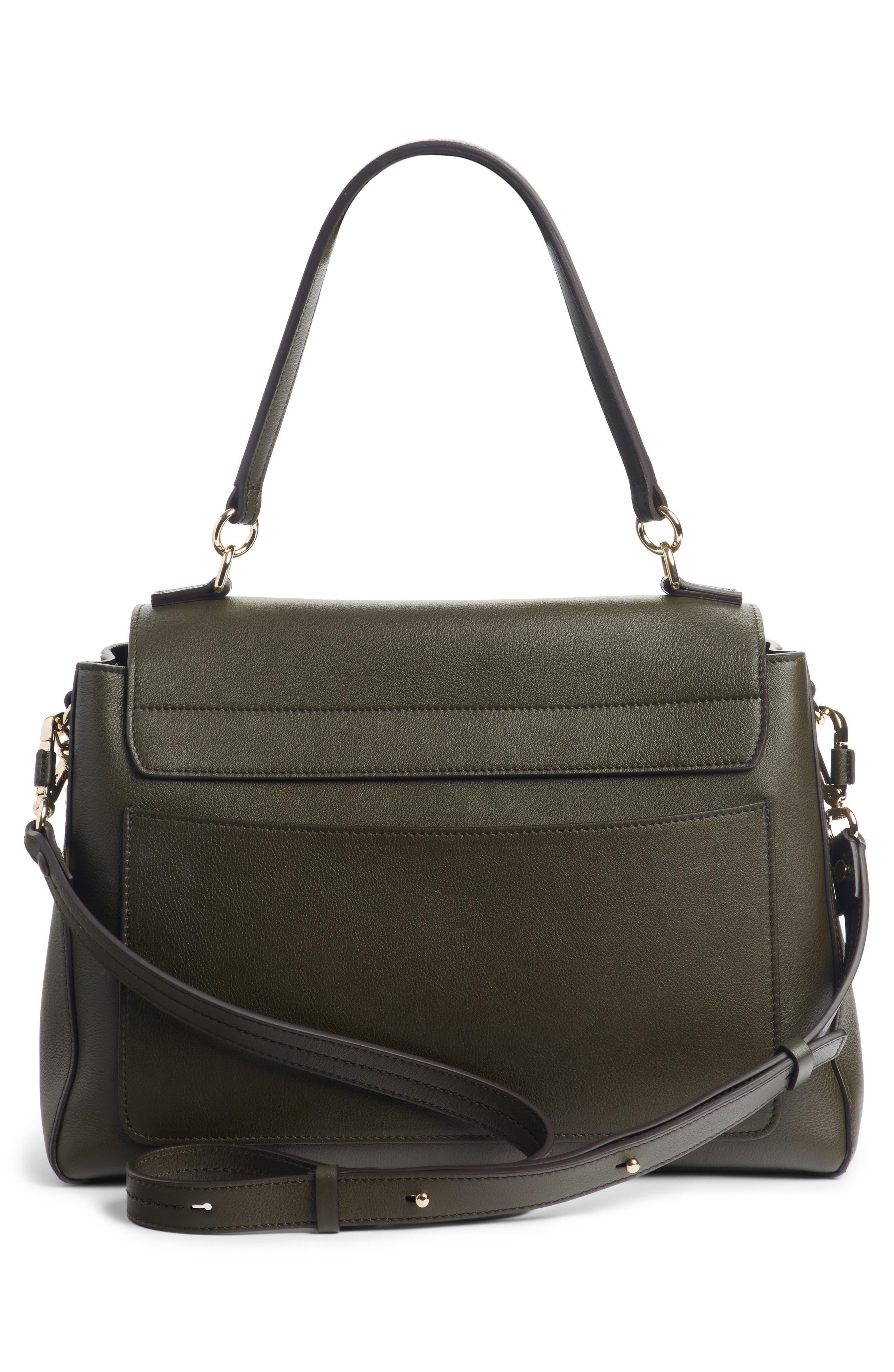 Medium Faye Leather Shoulder Bag,                             Alternate thumbnail 3, color,                             DEEP FOREST