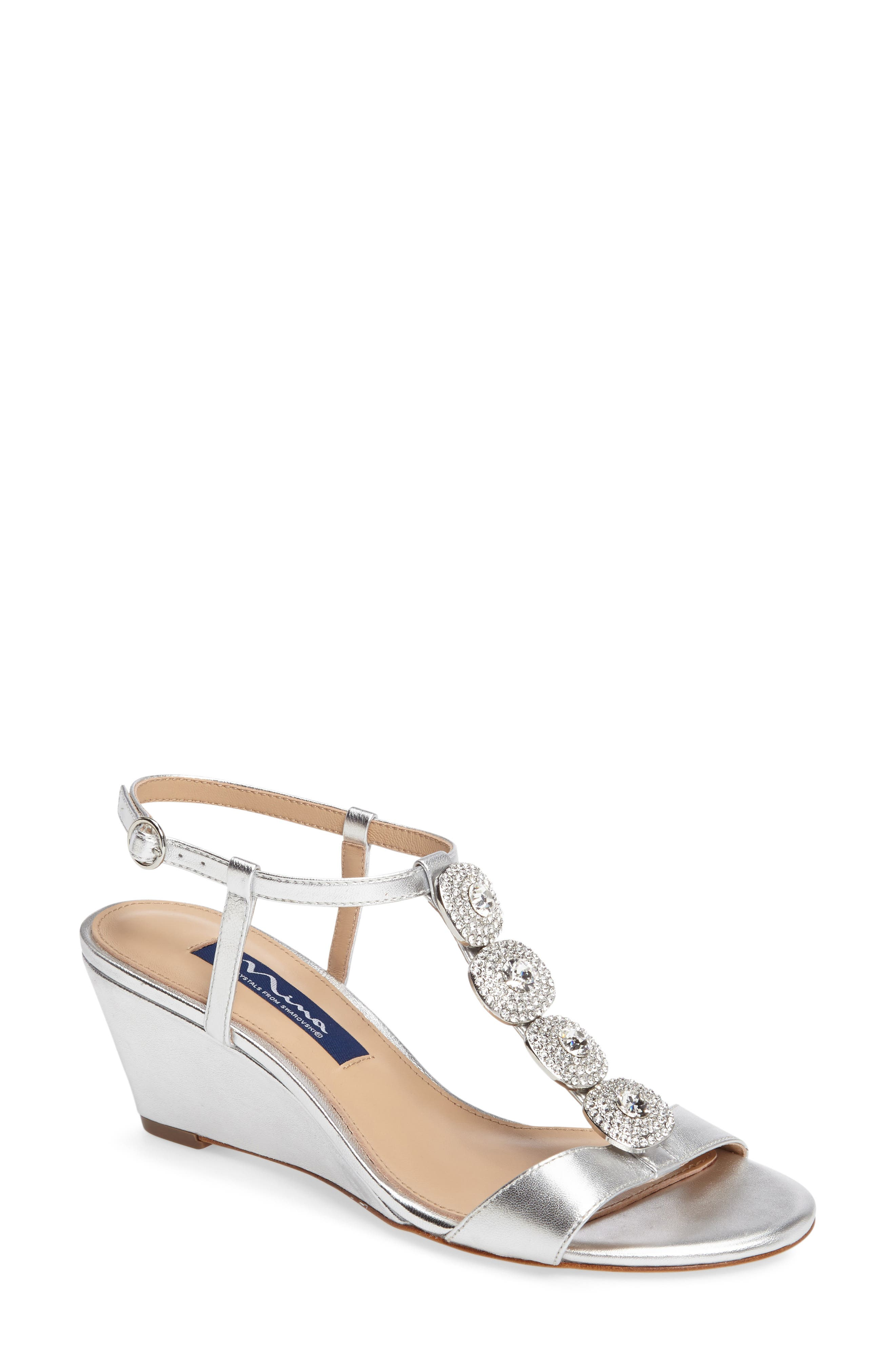 Natania Swarovski Wedge Sandal,                         Main,                         color, 043