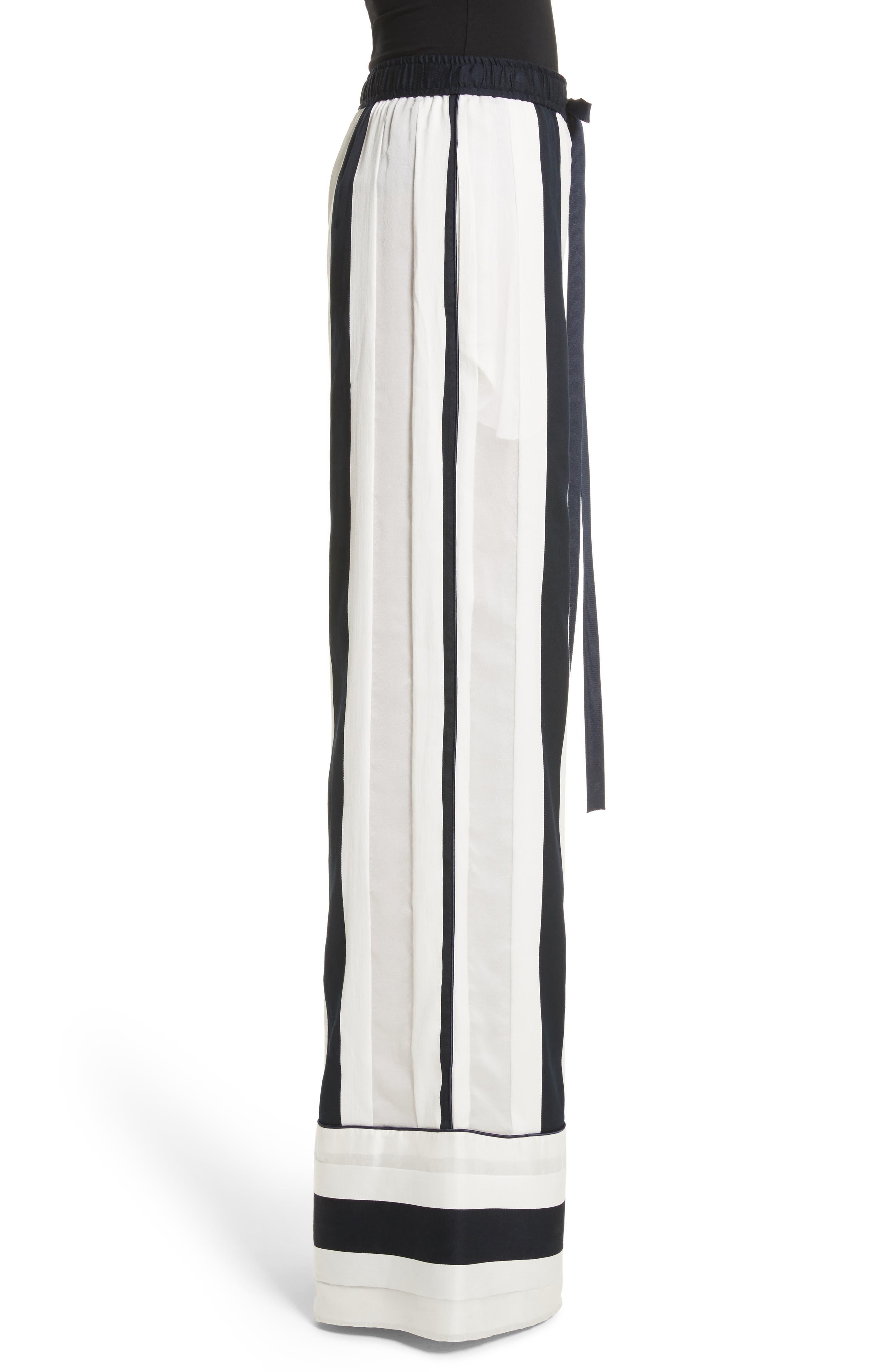 Cotton & Silk Stripe Jacquard Wide Leg Pants,                             Alternate thumbnail 3, color,