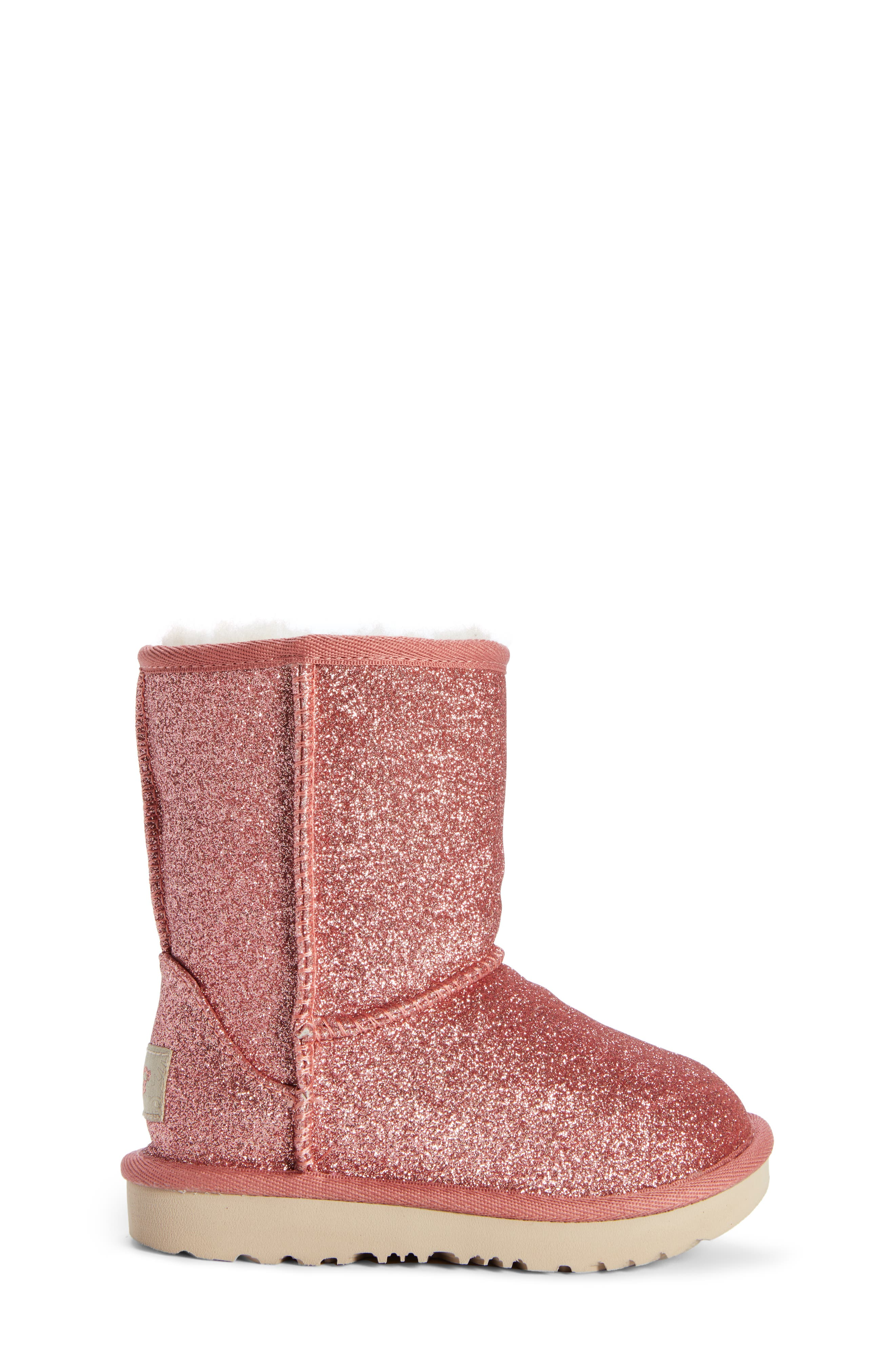 Classic Short II Glitter Bootie,                             Alternate thumbnail 3, color,                             PINK