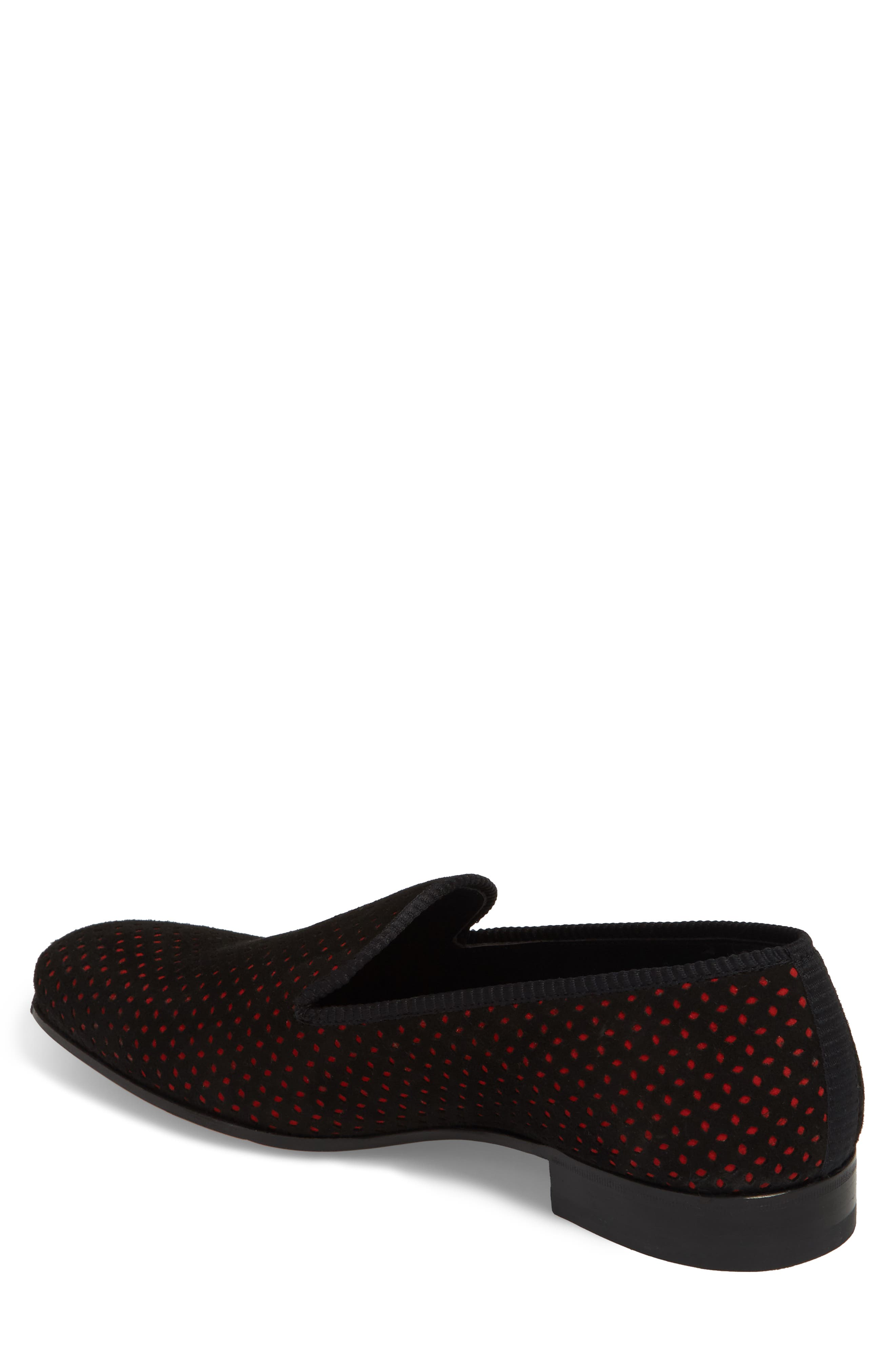 Cibeles Venetian Loafer,                             Alternate thumbnail 2, color,                             BLACK/ RED SUEDE