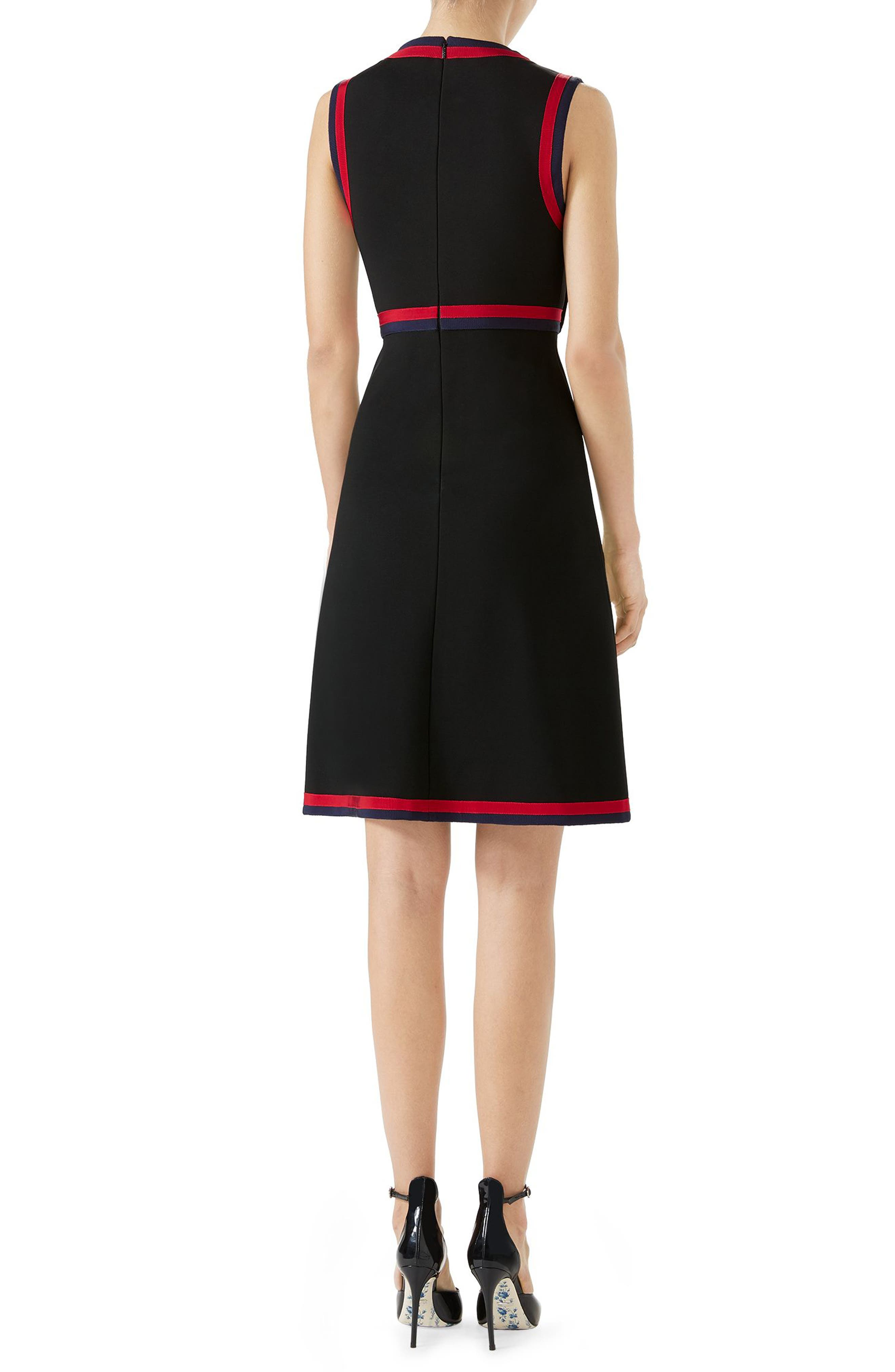 Stripe Trim Jersey A-Line Dress,                             Alternate thumbnail 2, color,                             BLACK/ MULTICOLOR