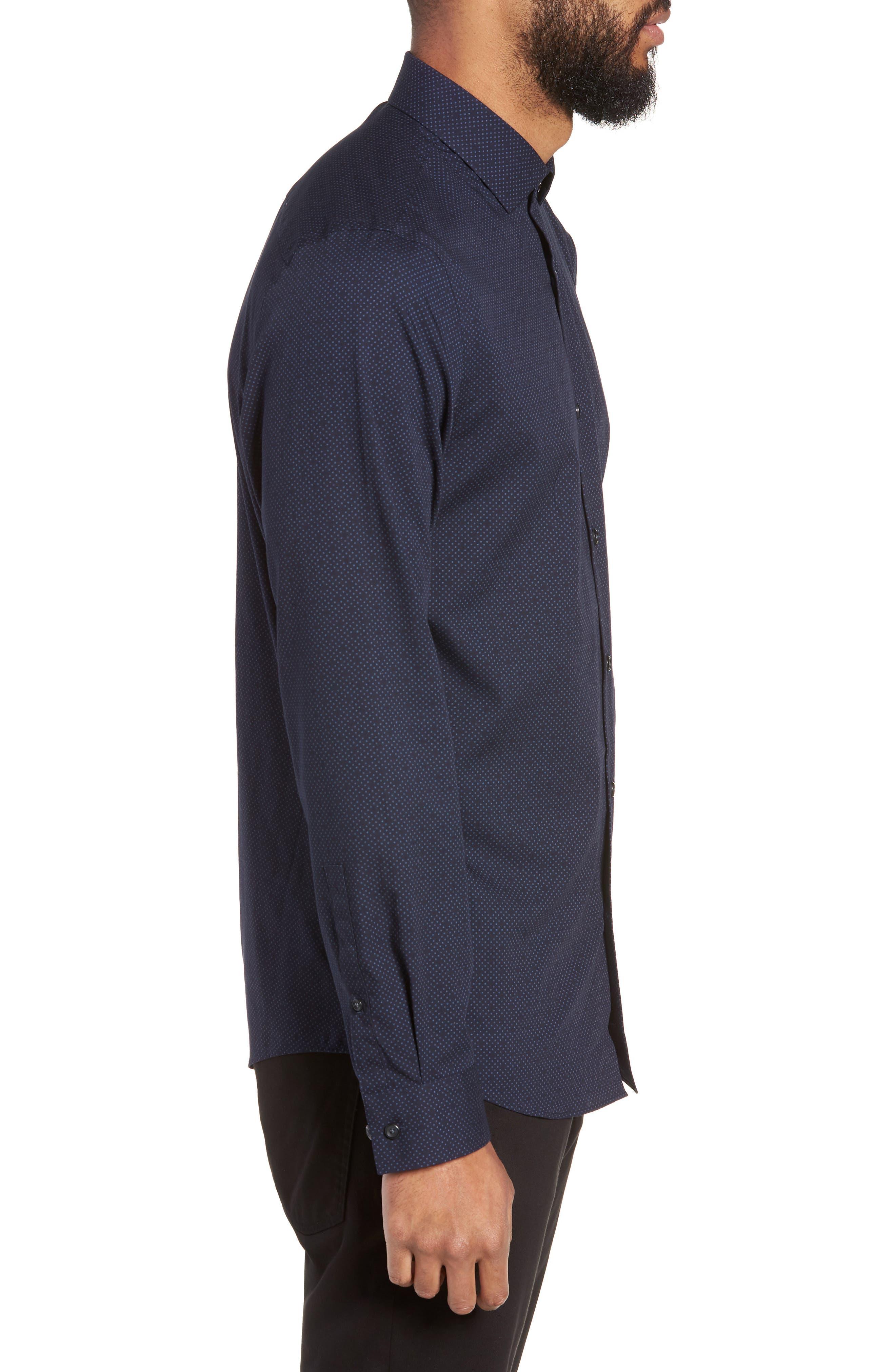 CALIBRATE,                             Slim Fit Dot Non-Iron Sport Shirt,                             Alternate thumbnail 3, color,                             410