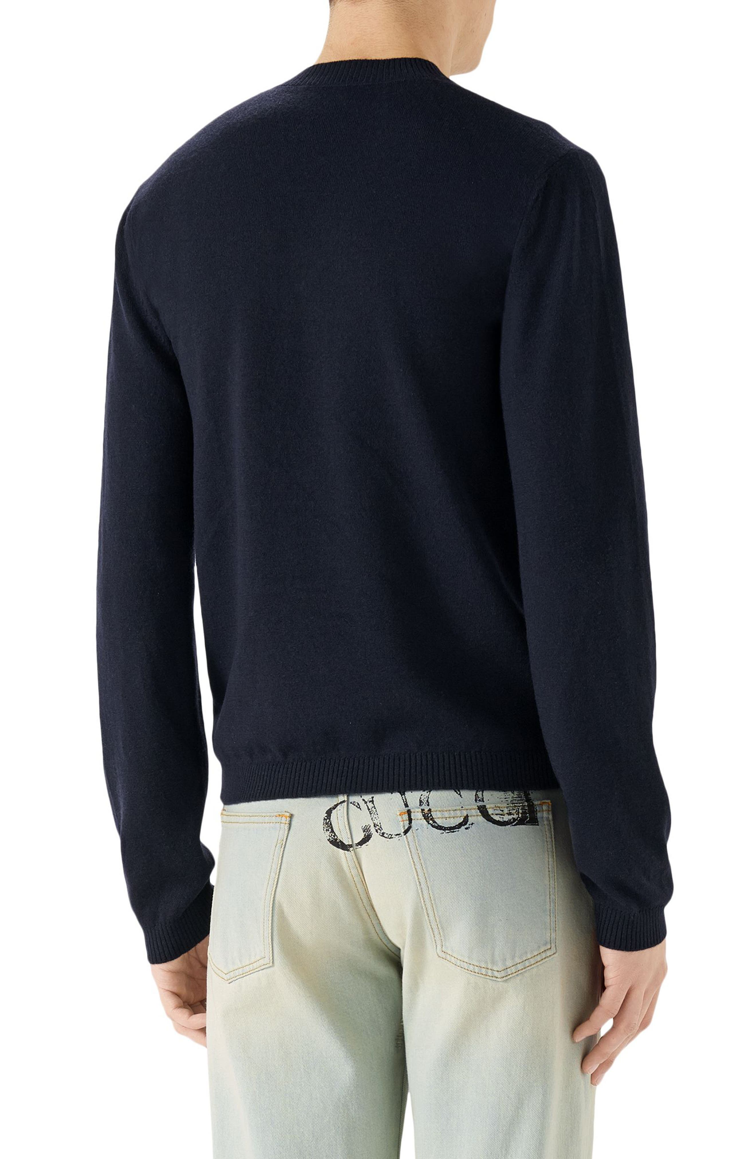 V-Neck Embroidered Wool Sweater,                             Alternate thumbnail 2, color,                             INK BLUE