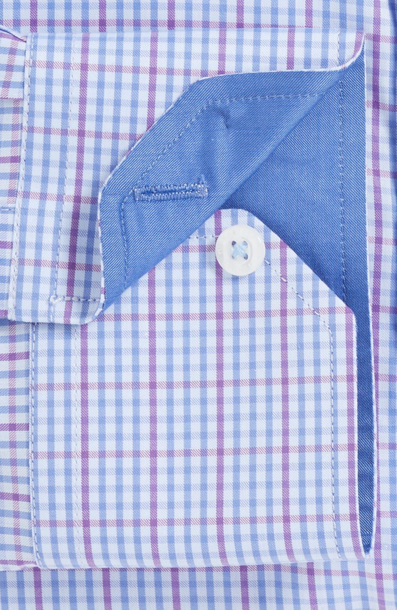 Trim Fit Check Dress Shirt,                             Alternate thumbnail 2, color,