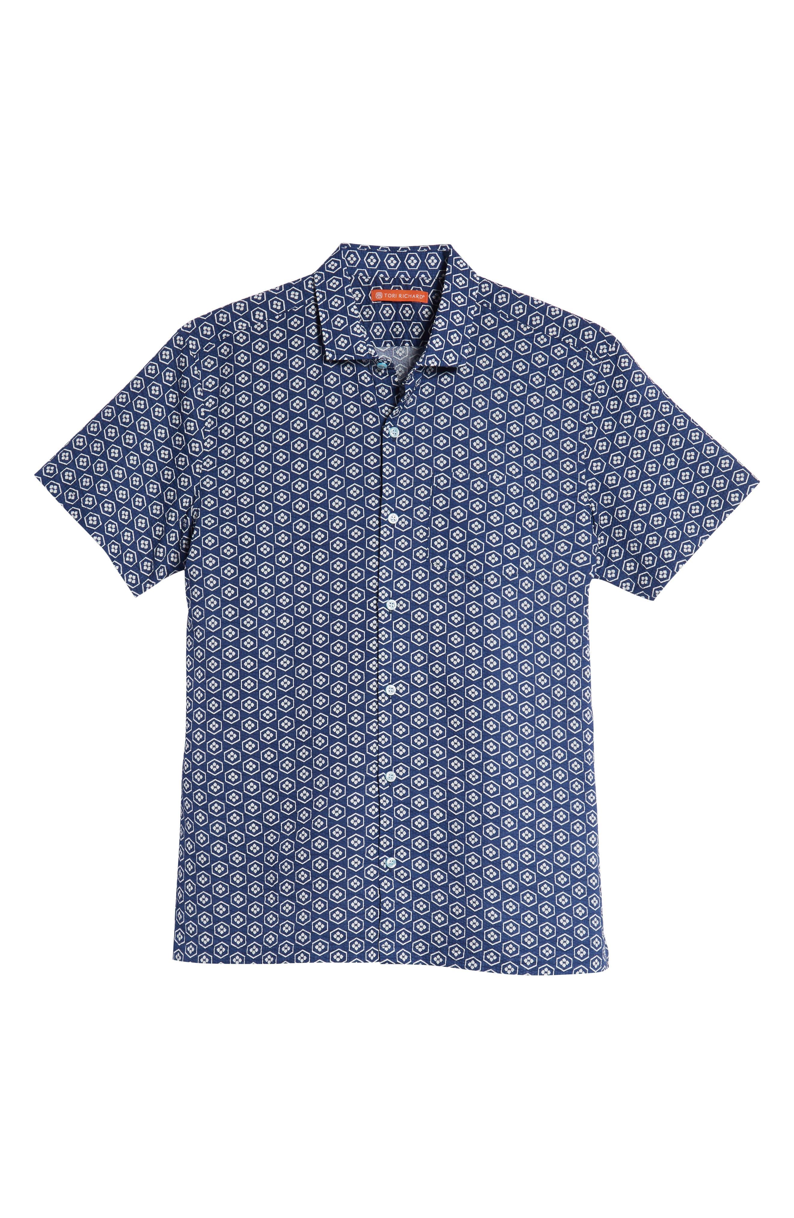 Regular Fit Print Sport Shirt,                             Alternate thumbnail 5, color,                             NAVY