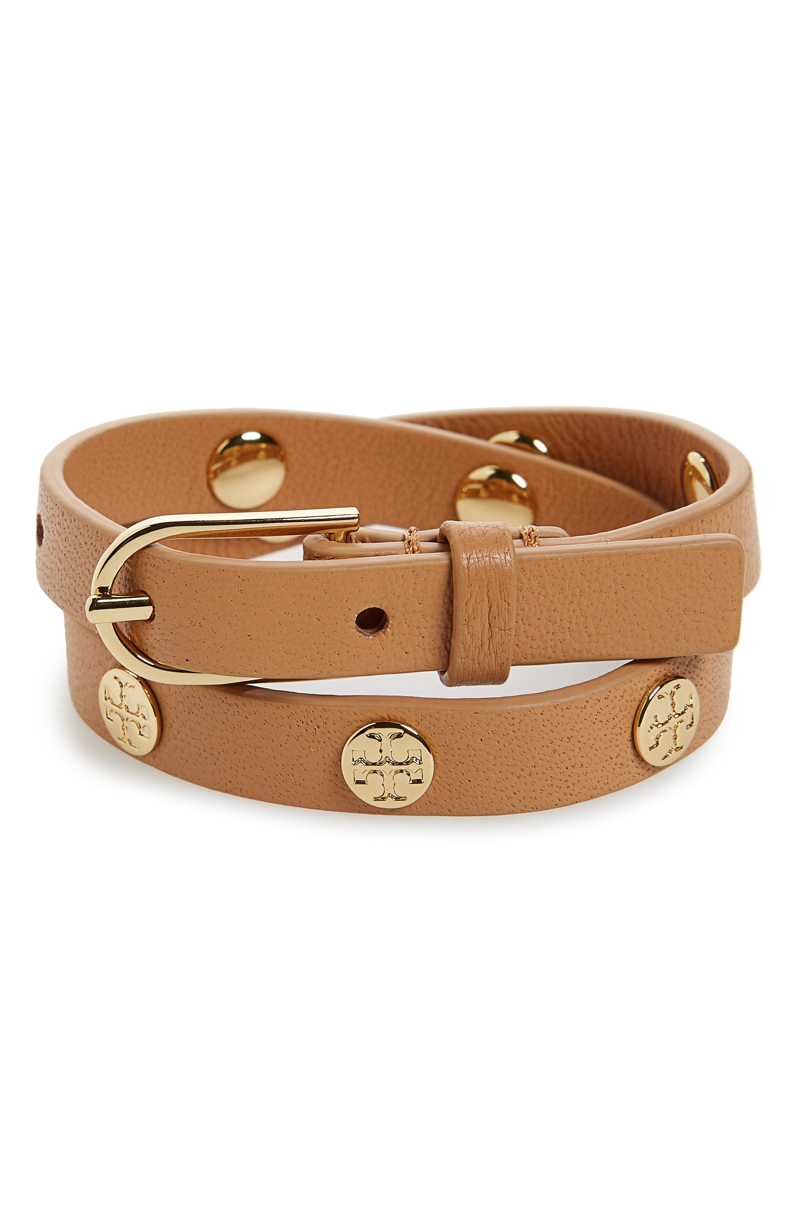 Double Wrap Logo Bracelet,                         Main,                         color, AGED VACHETTA/ TORY GOLD