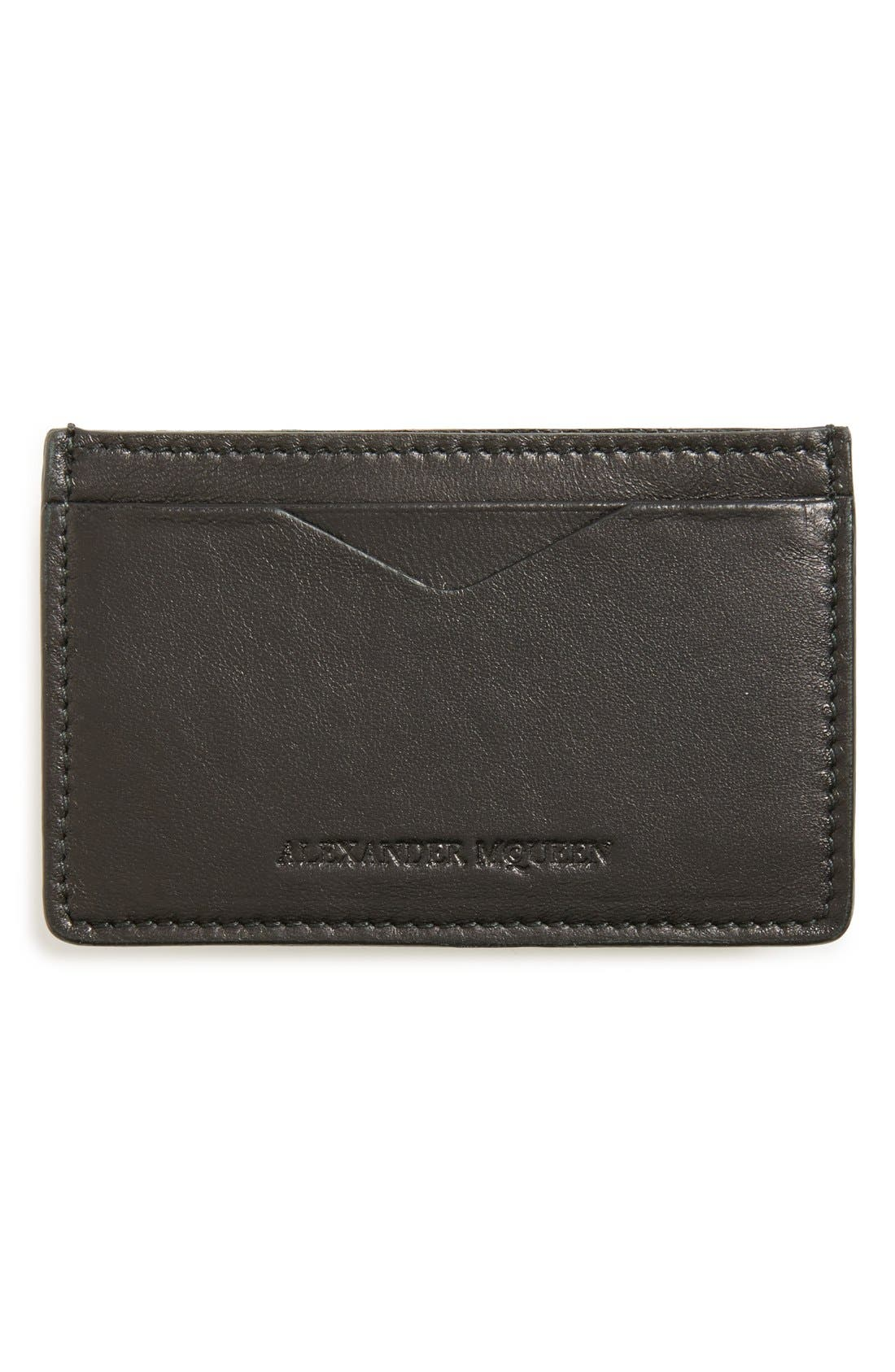 Rib Cage Leather Card Holder,                             Alternate thumbnail 4, color,                             BLACK