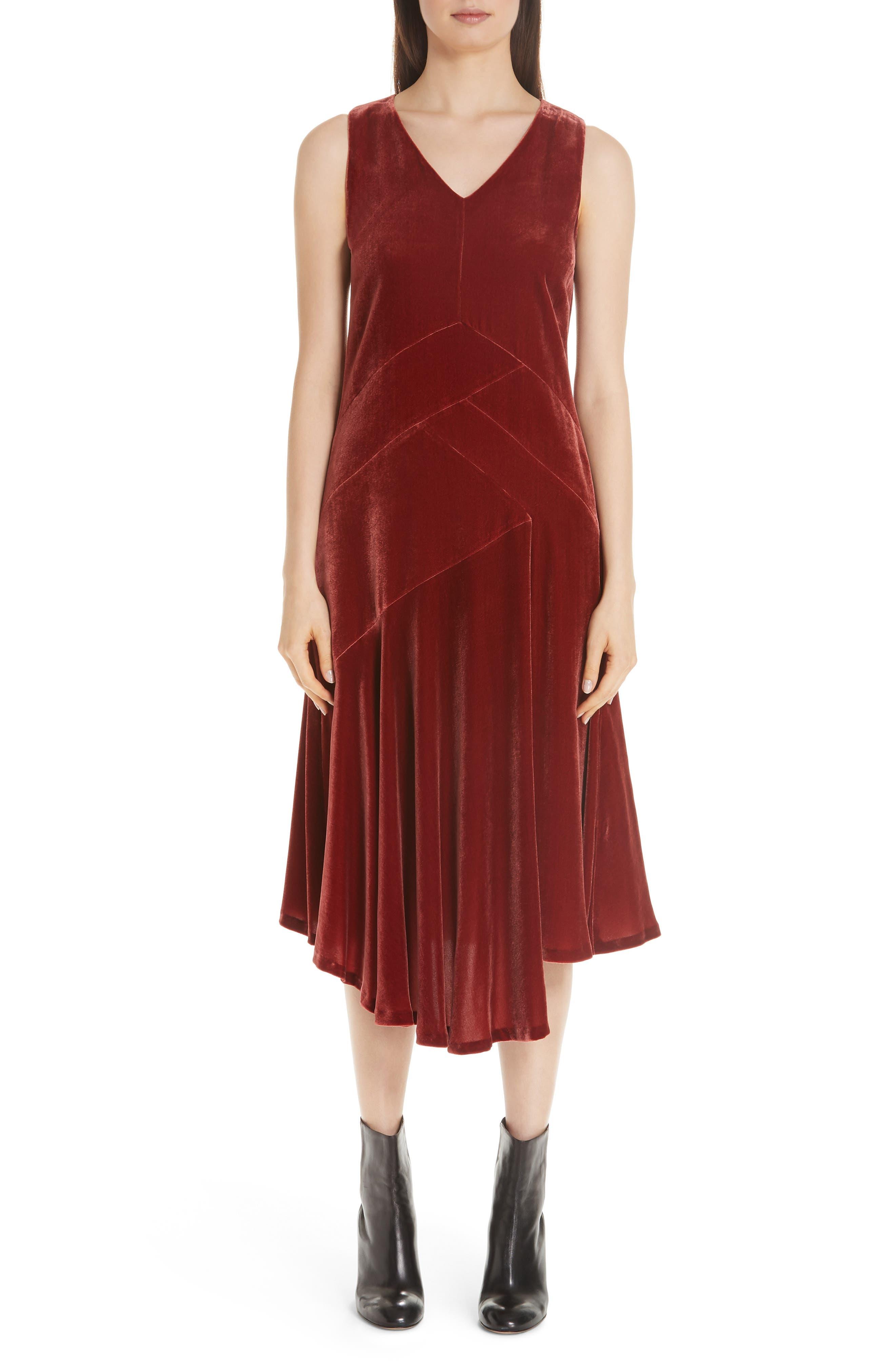 Ashlena Asymmetrical Velvet Dress,                         Main,                         color, SAFFRON