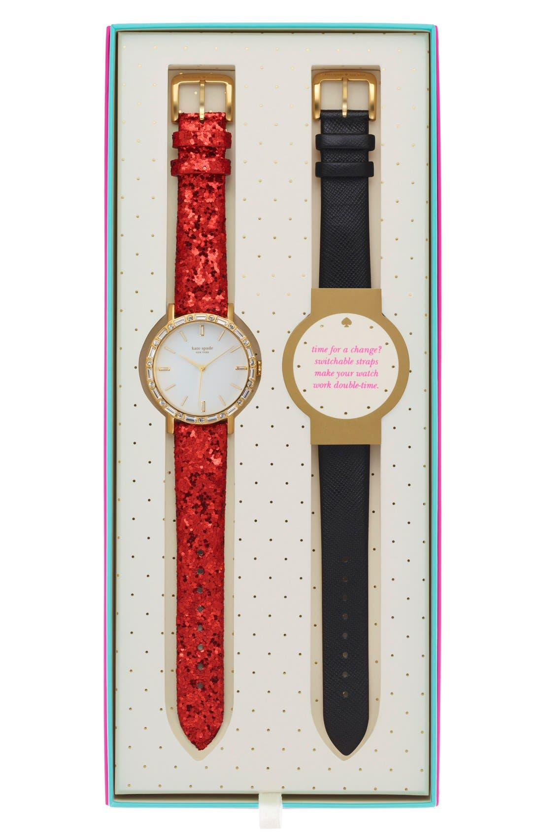 KATE SPADE NEW YORK,                             'metro' crystal bezel watch & straps set, 38mm,                             Main thumbnail 1, color,                             001