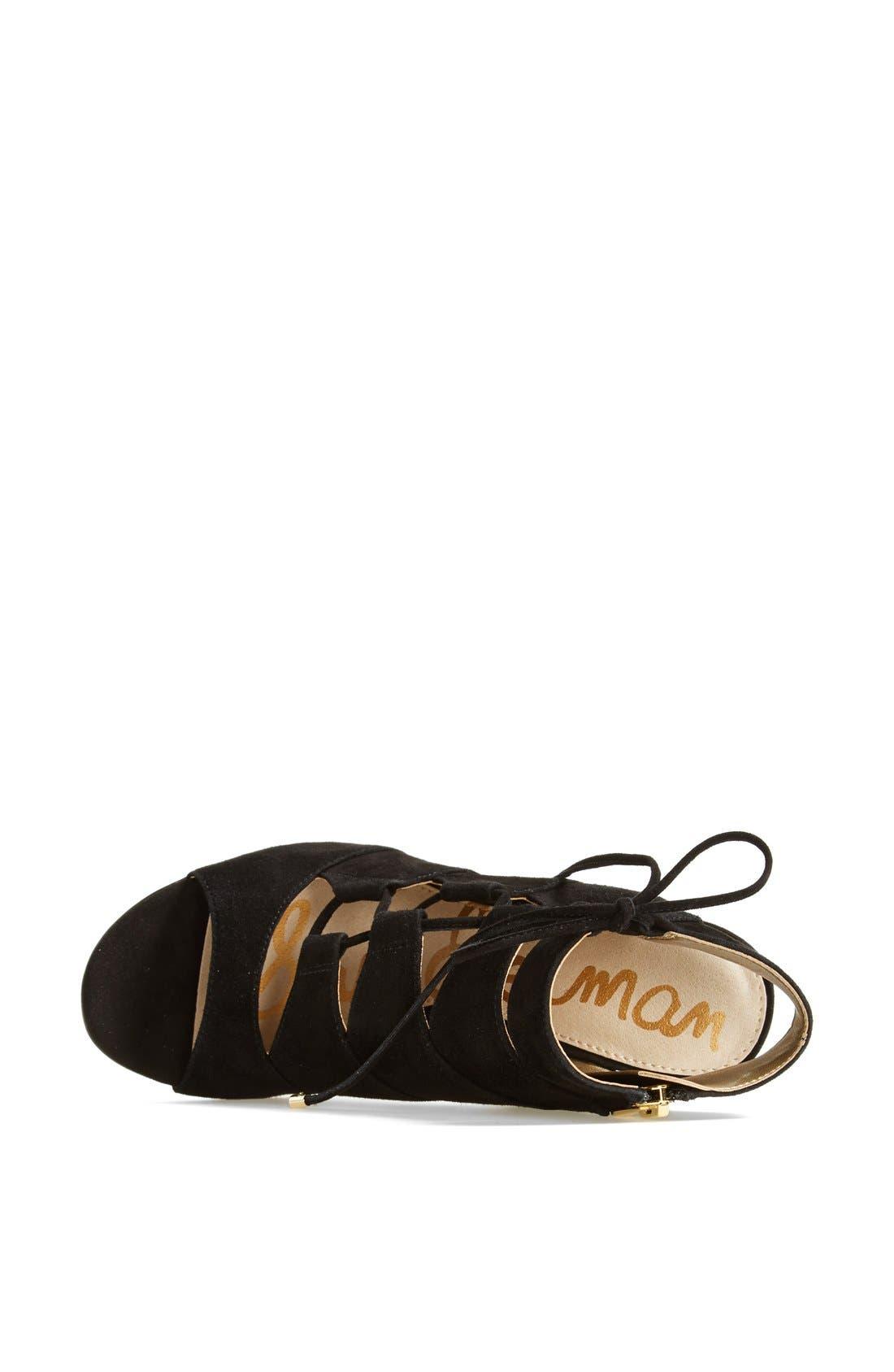 'Palma' Suede Sandal,                             Alternate thumbnail 4, color,                             001
