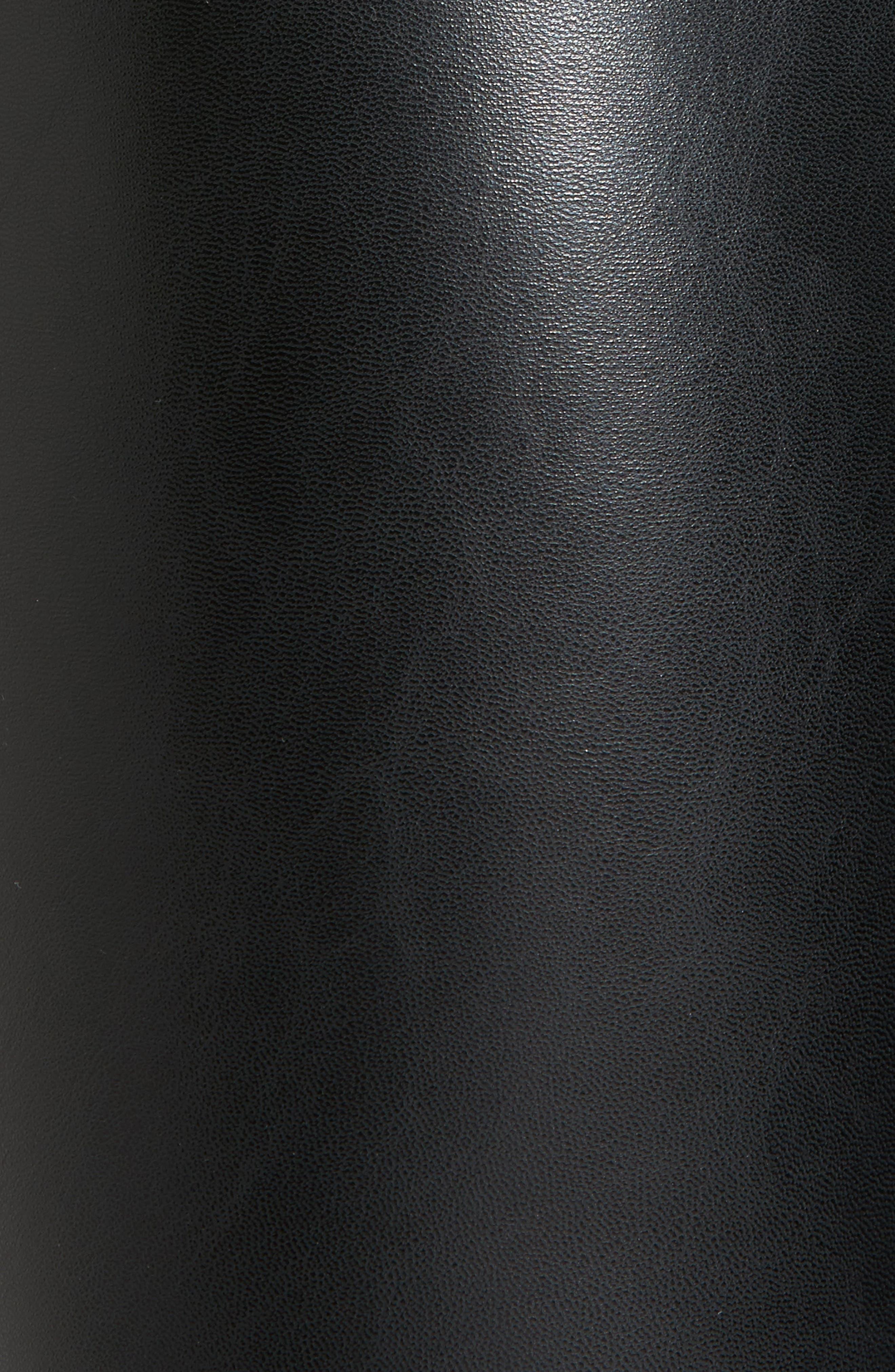 Cuffed Faux Leather Leggings,                             Alternate thumbnail 5, color,                             001
