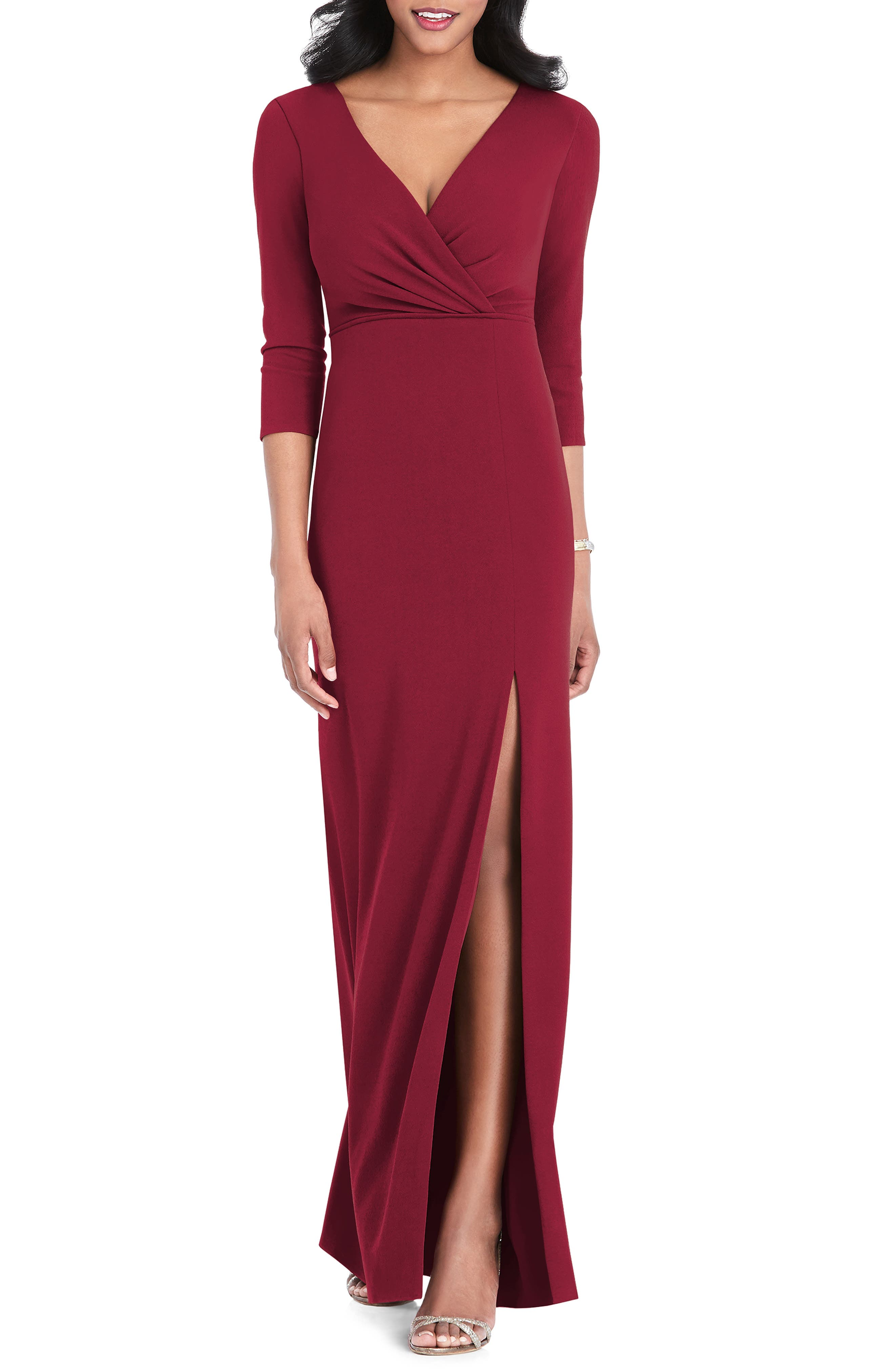 After Six Surplice Stretch Crepe Gown, Red