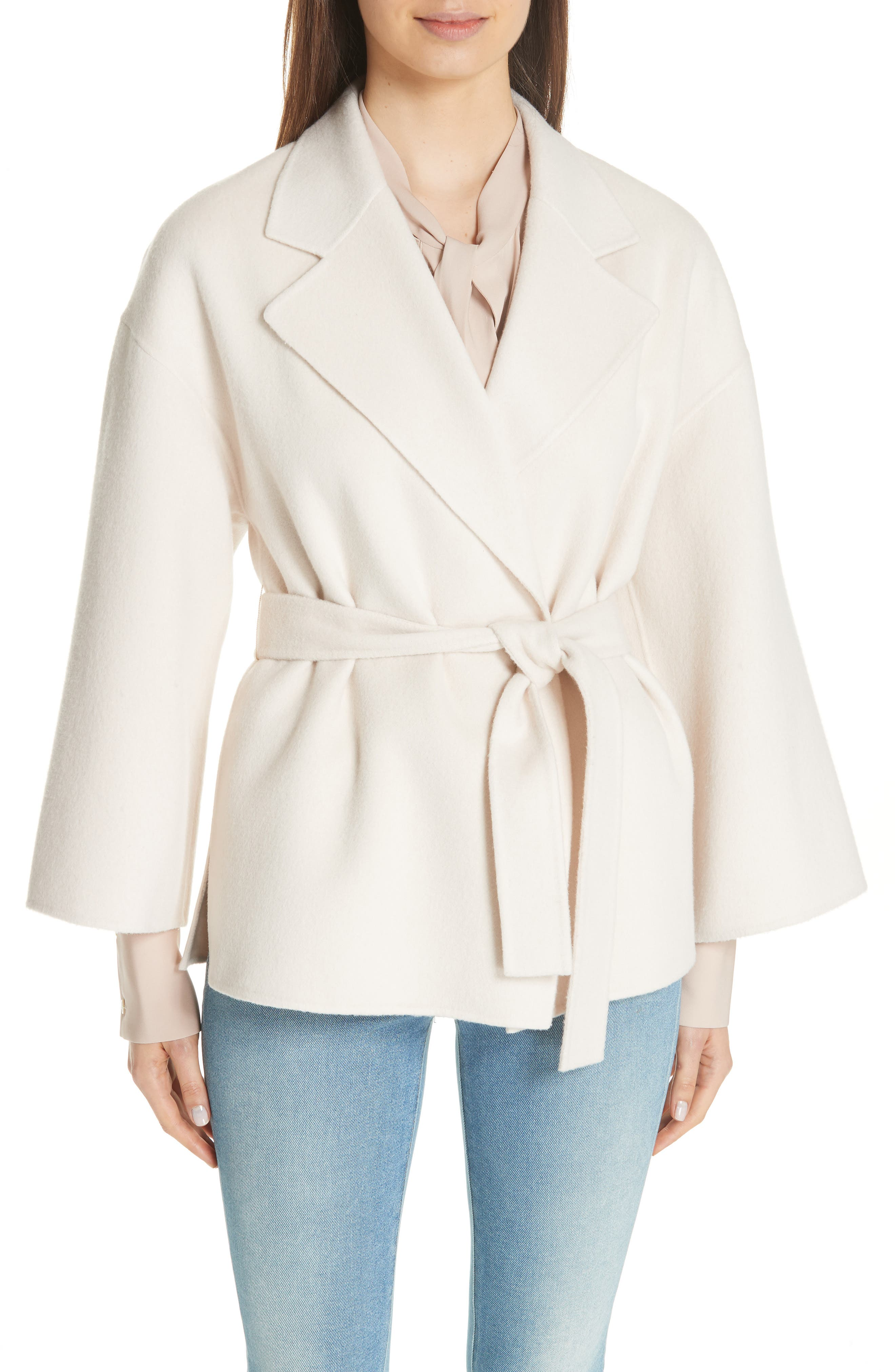 Wool & Cashmere Belted Jacket,                             Main thumbnail 1, color,                             BUTTERCREAM
