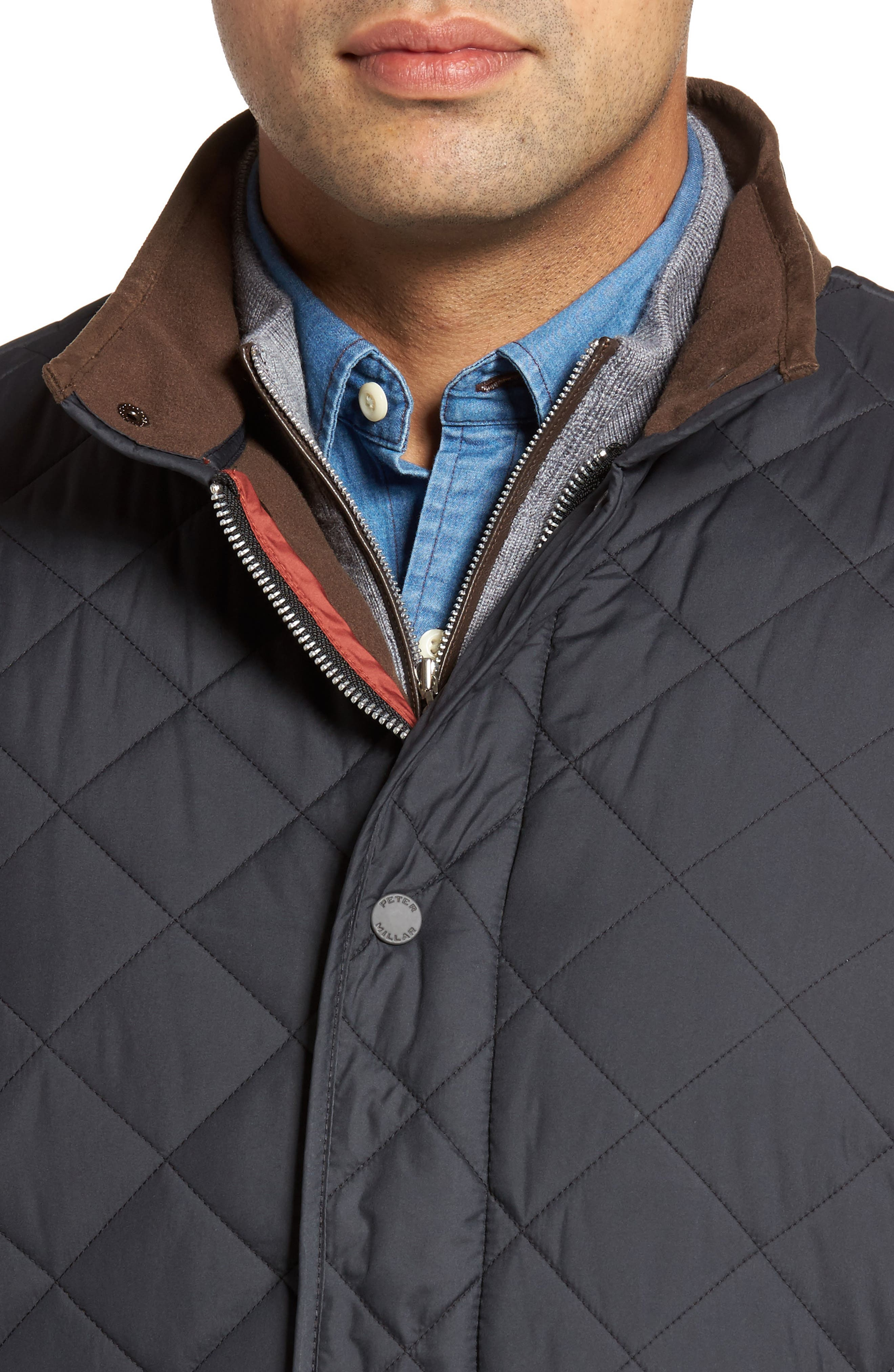 Suffolk Quilted Water-Resistant Car Coat,                             Alternate thumbnail 4, color,                             001