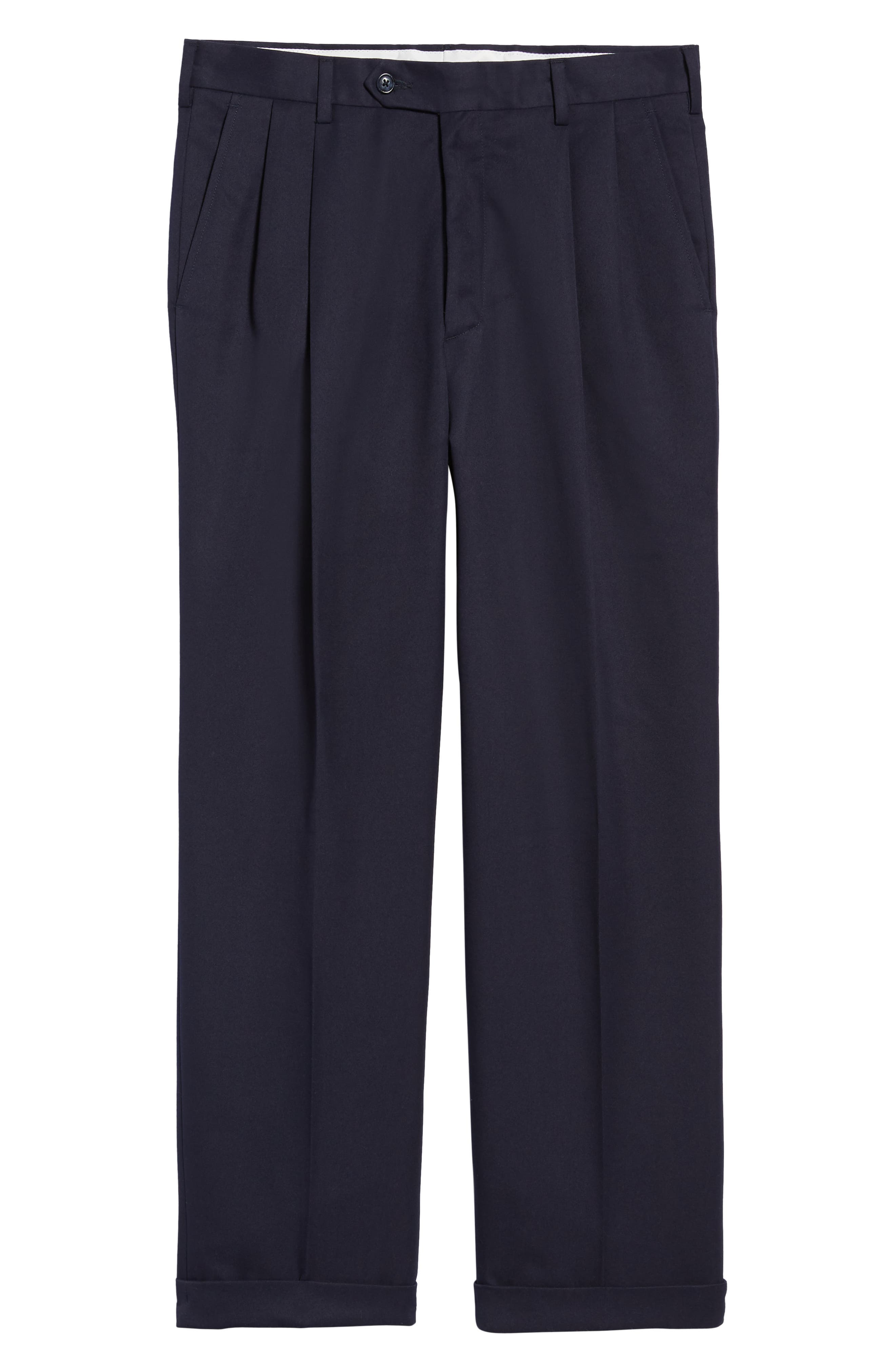 Classic Fit Pleated Microfiber Performance Trousers,                             Alternate thumbnail 6, color,                             NAVY