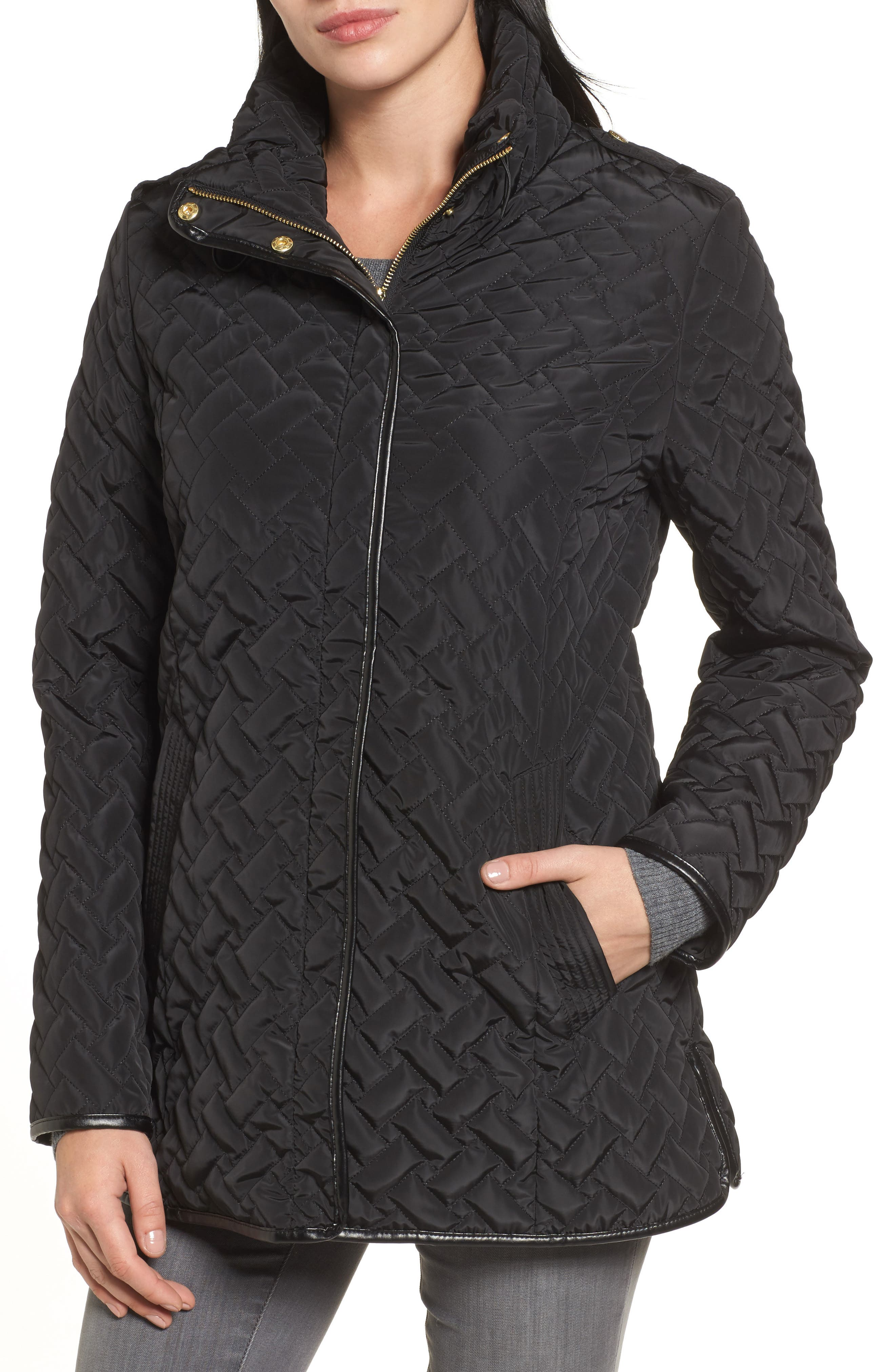 Cole Haan Quilted Jacket,                             Alternate thumbnail 4, color,                             001