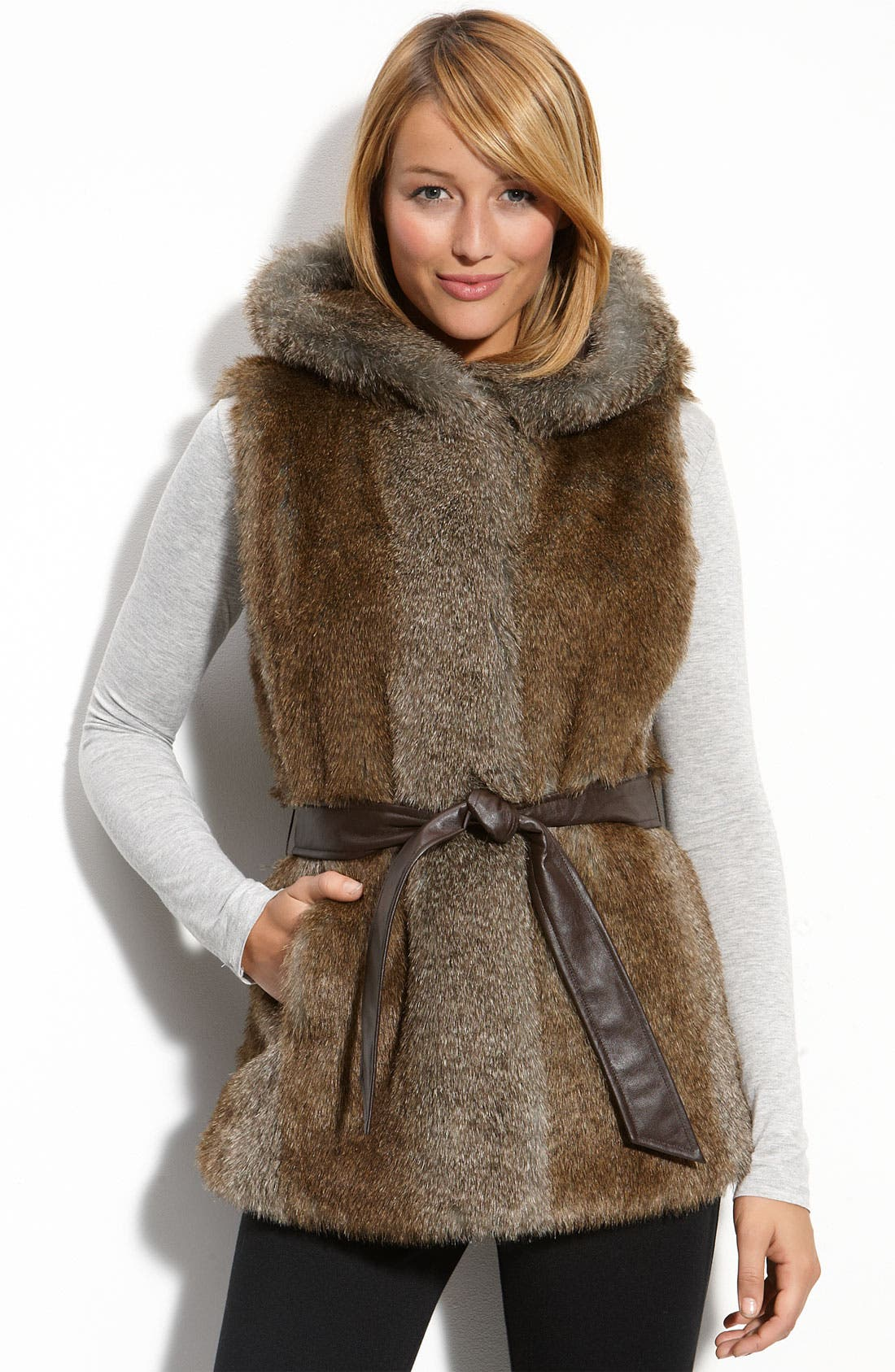 Hooded Faux Fur Vest, Main, color, 250
