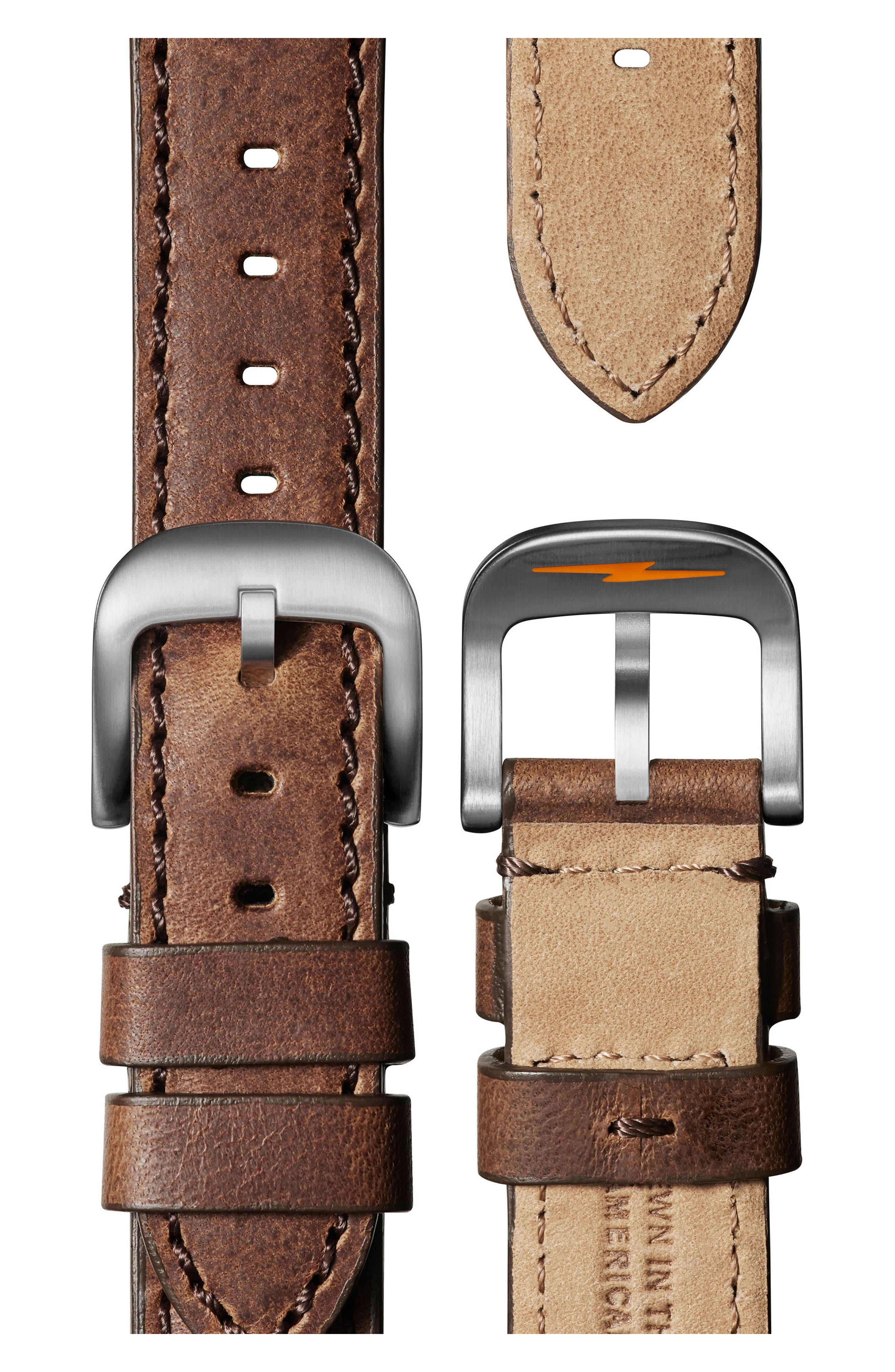 The Runwell Chronograph Leather Strap Watch, 41mm,                             Alternate thumbnail 4, color,                             CATTAIL BROWN/ BLACK/ SILVER