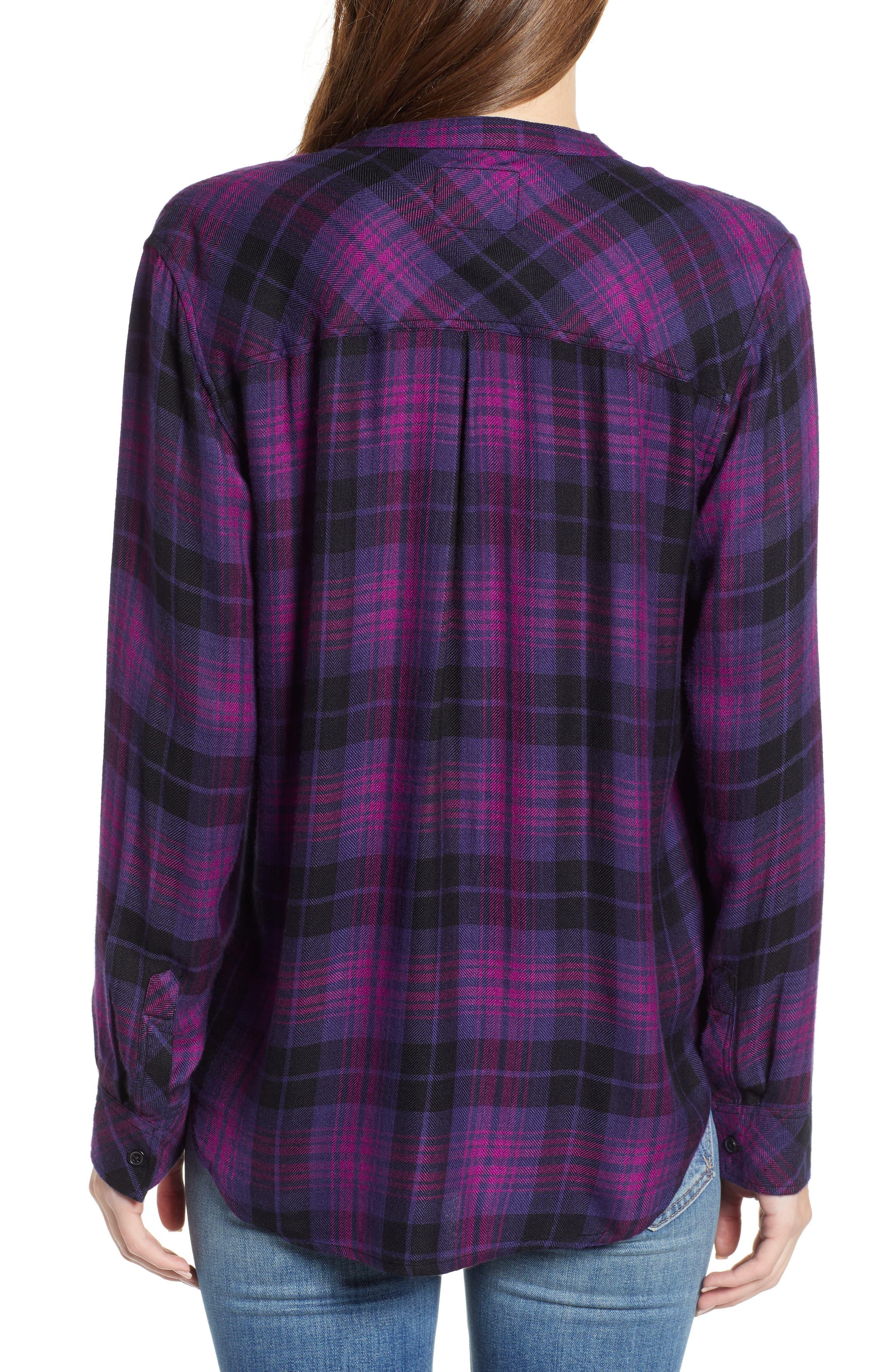 Allison Plaid Shirt,                             Alternate thumbnail 2, color,                             MAGENTA IRIS BLACK