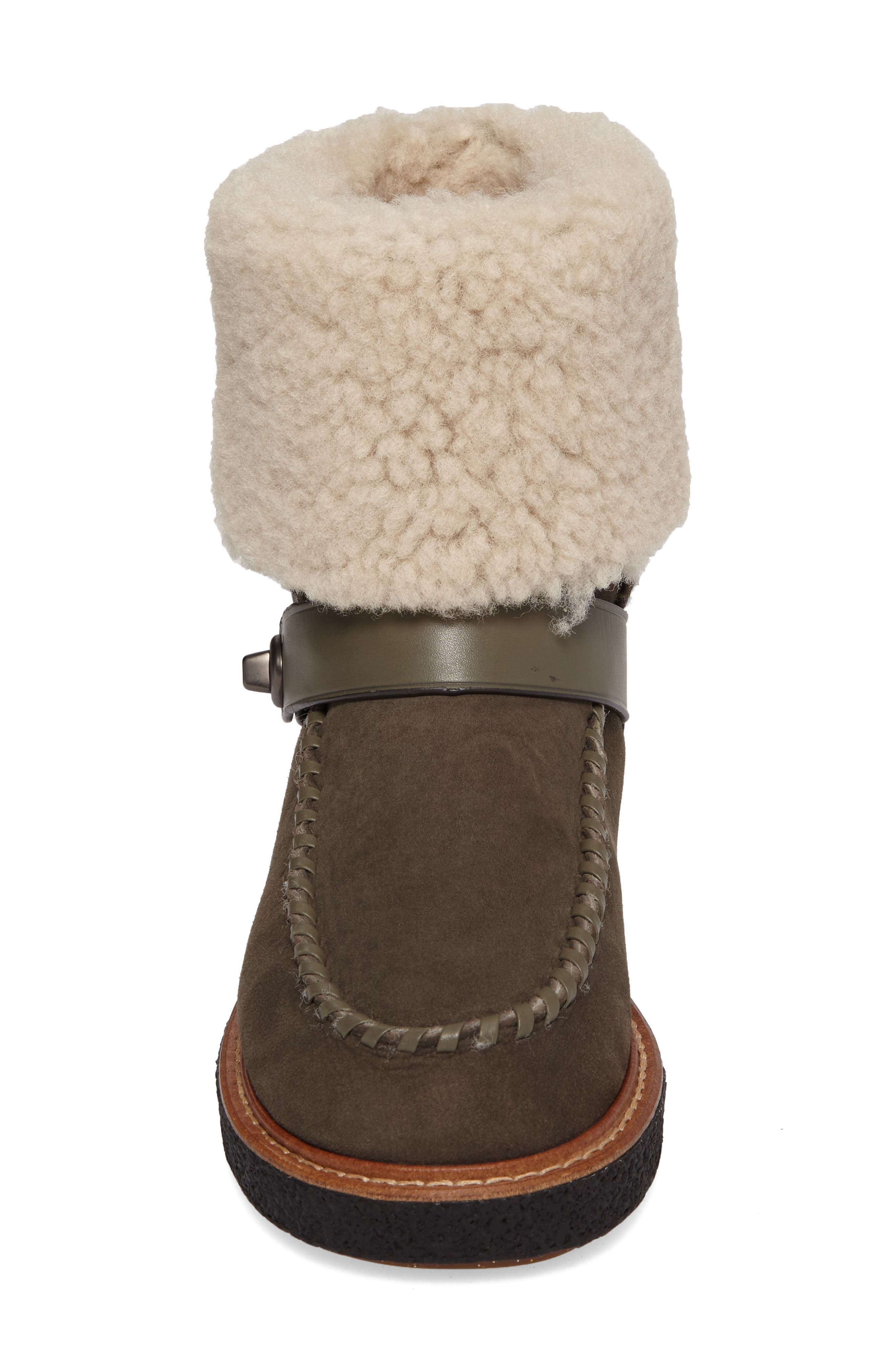Genuine Shearling Moto Boot,                             Alternate thumbnail 12, color,