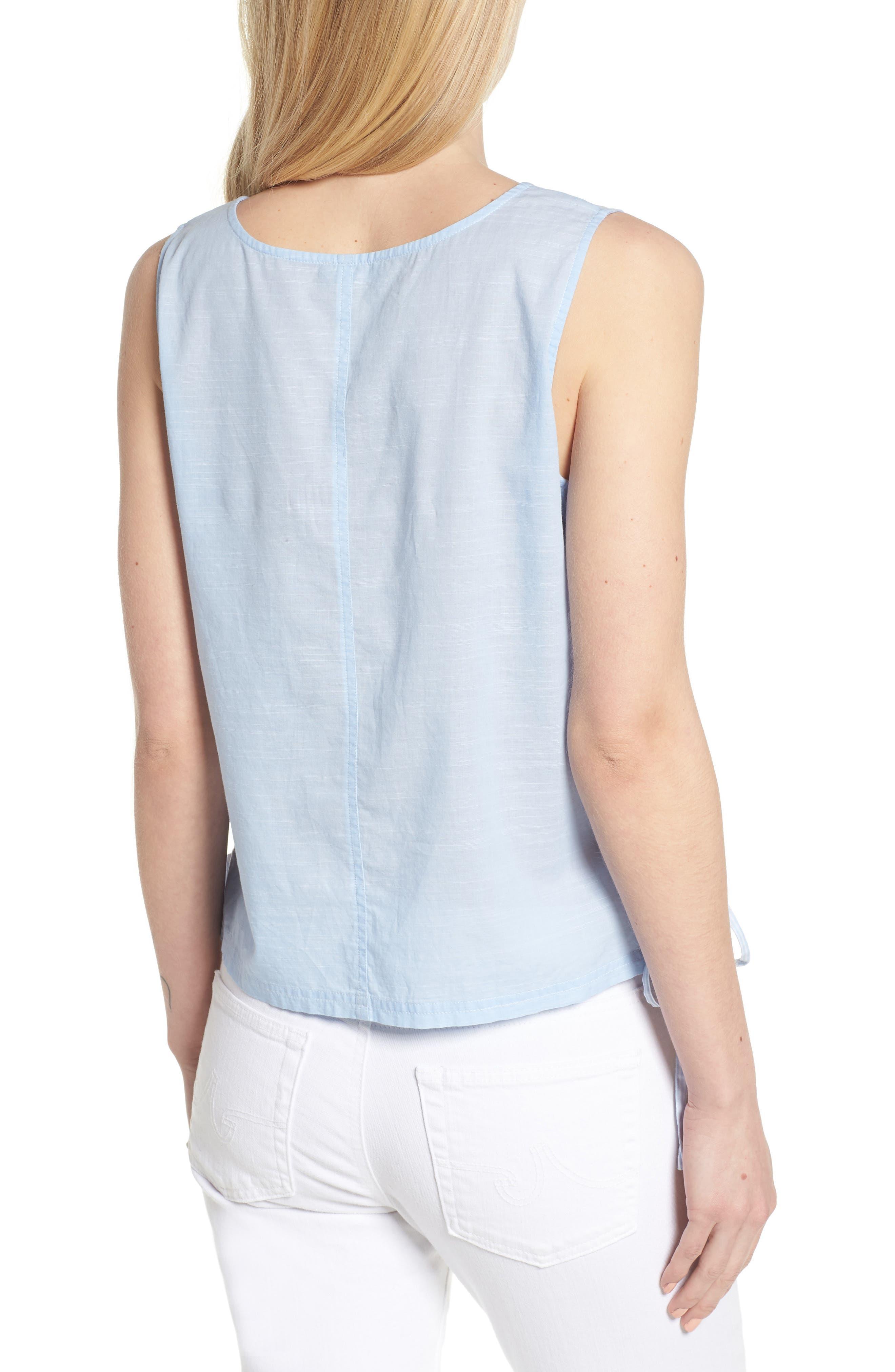 Side Laced Stripe Cotton Top,                             Alternate thumbnail 2, color,                             465