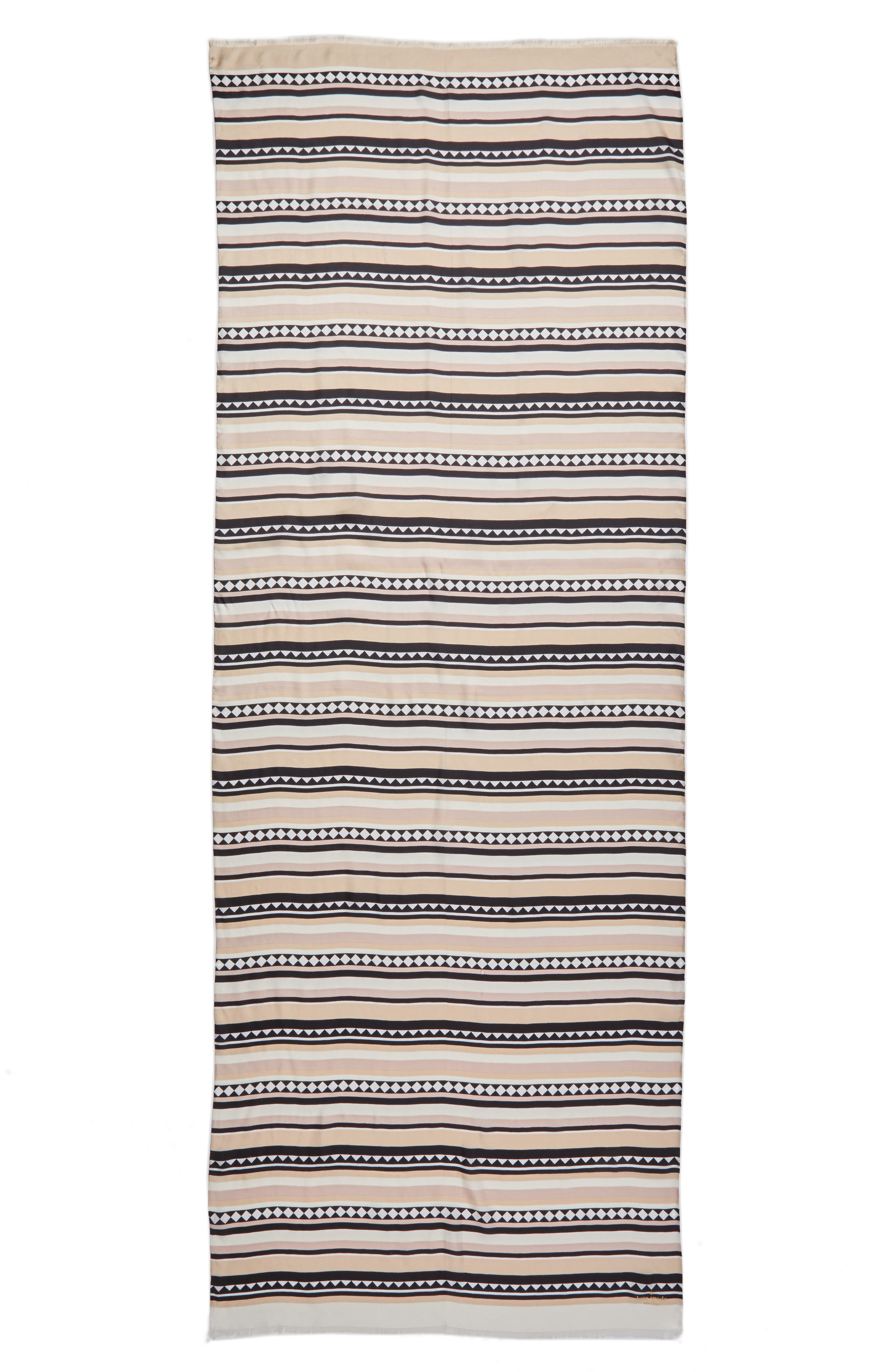 geo stripe silk scarf,                             Alternate thumbnail 3, color,                             100
