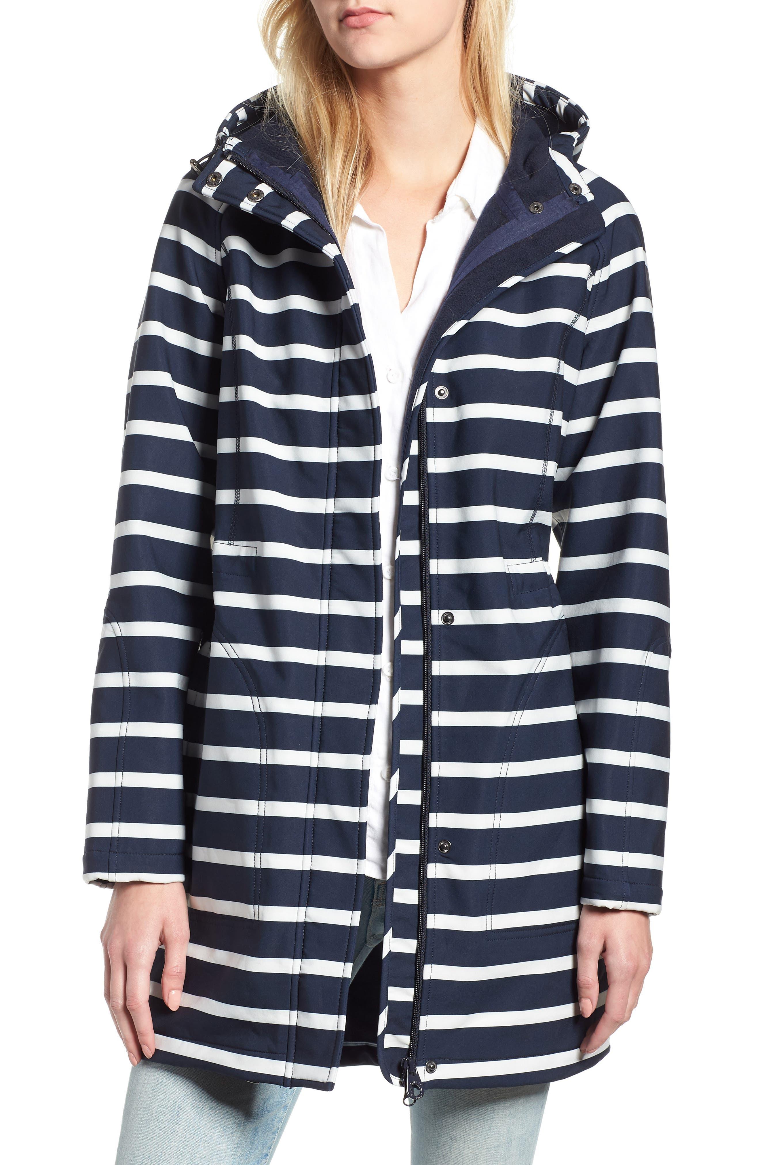 Right as Rain Fleece Lined Raincoat,                         Main,                         color, MARINE NAVY